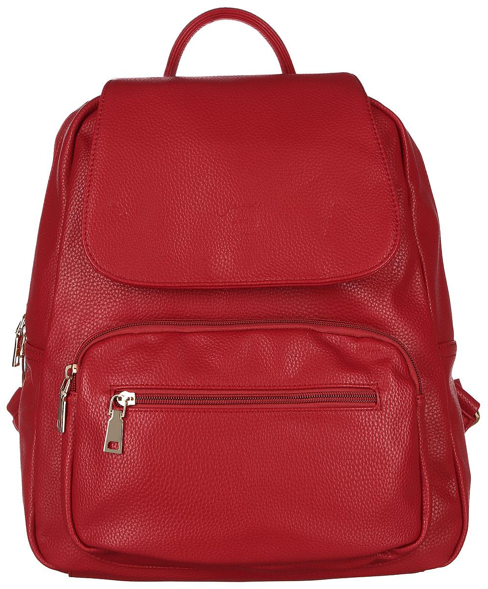 Рюкзак женский Janes Story, цвет: красный. TW-9043-12TW-9043-12Стильный женский рюкзак Janes Story выполнен из искусственной кожи зернистой фактуры. Изделие содержит отделение, закрывающееся с помощью металлической застежки-молнии и клапана с магнитным замком. Внутри расположены: два накладных кармана для мелочей и два кармана на молнии. Спереди рюкзак дополнен двумя карманами на молнии, сзади прорезным карманом на молнии. Рюкзак оснащен удобными лямками регулируемой длины, а также петлей для подвешивания. Оригинальный аксессуар позволит вам завершить образ и быть неотразимой.