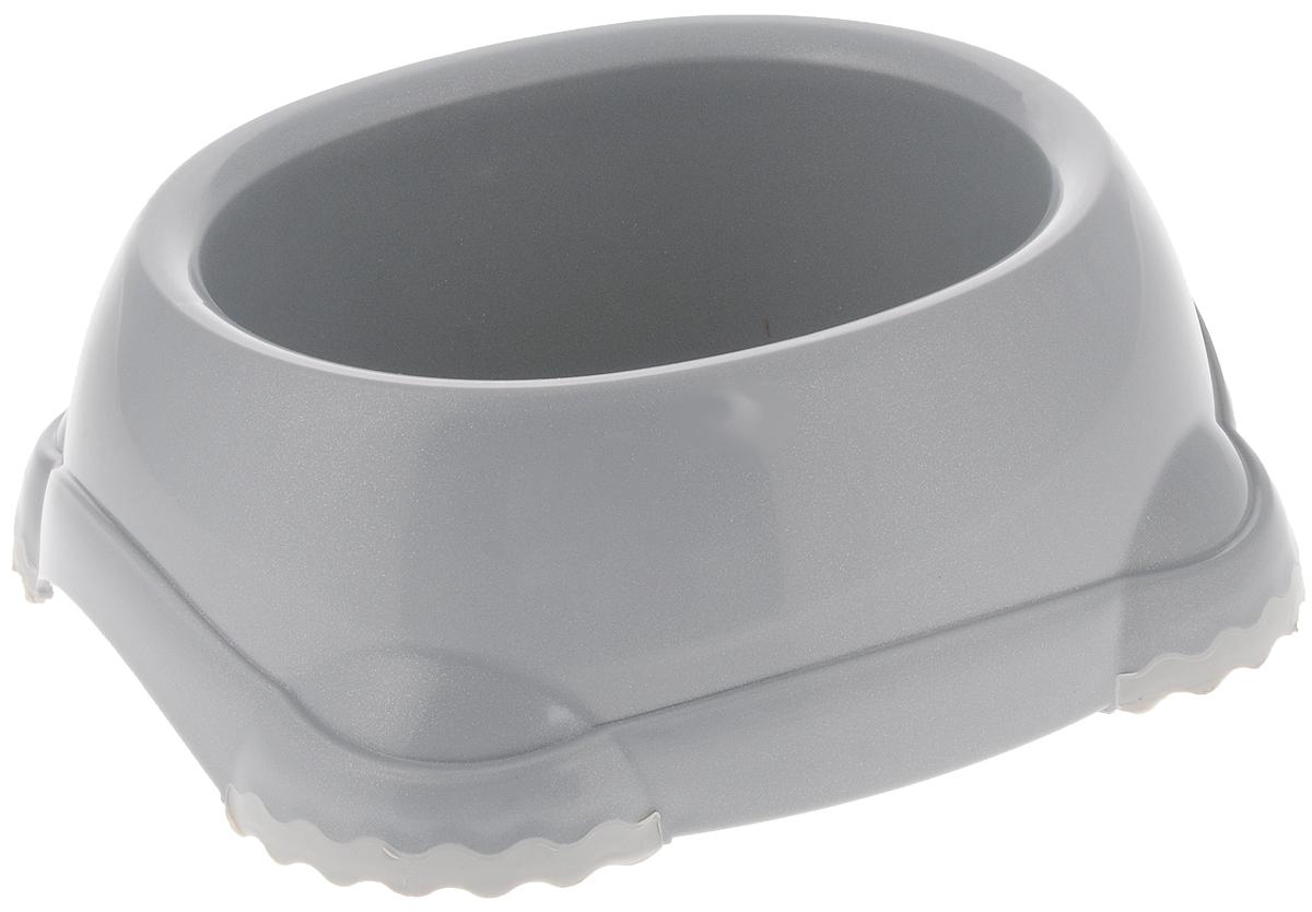 Миска Moderna Smarty bowl, с антискольжением, цвет: серый, 16 х 6 см14H102026Миска для корма и воды из полированного пластика. Ножки миски имеют резиновые накладки для предотвращения скольжения по полу. Качественный пластик не гнется, не ломается, не впитывает запахи, миска легко моется, имеет длительных срок эксплуатации. Стильный дизайн, широкая цветовая гамма. Специально разработанная конструкция для удобства Вашего питомца. Характеристики: Размер миски: 20 х 18 х 7 см; Глубина миски: 6 см; Цвет: серый.