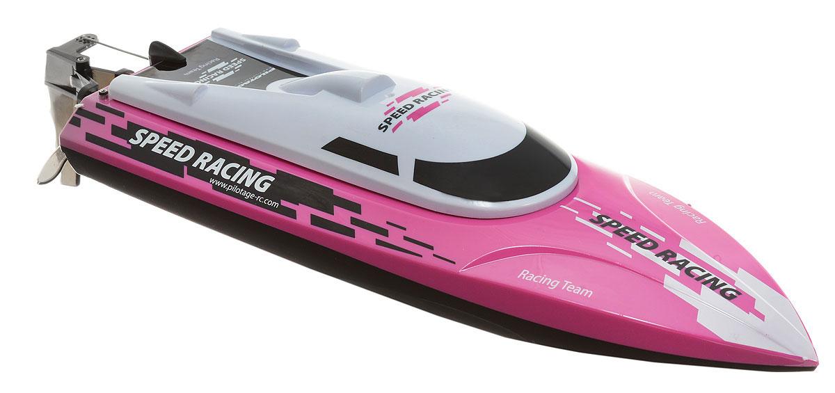 Pilotage Катер на радиоуправлении Speed Racing RTR цвет черный розовый белыйRC17309Радиоуправляемый скоростной катер Pilotage Speed Racing RTR развивает скорость до 25 км/ч. Модель легко транспортировать, и ее всегда можно взять с собой, отправляясь на водоем. Гидродинамическая форма кабины обеспечивает низкое сопротивление лодки и водной поверхности. На модель установлены пластиковые винт и руль управления, мотор с медным сердечником. При заклинивании винта мотор автоматически отключается. Верхняя крышка закрывает агрегатный отсек и крепится на поворотном зажиме. Отличительной и, несомненно, удобной особенностью модели является механизм переворота. Если ваша лодка перевернулась в воде, вдали от берега, вы можете активировать механизм переворота с помощью комбинации команд. Теперь вам не придется плыть за обездвиженной лодкой. Интересным моментом является то, что катер включается только при соприкосновении с водой. Это выполнено для того, чтобы снизить риск поломки мотора водяного охлаждения. Бассейн, озеро, пруд, городской фонтан - любой водоем послужит...