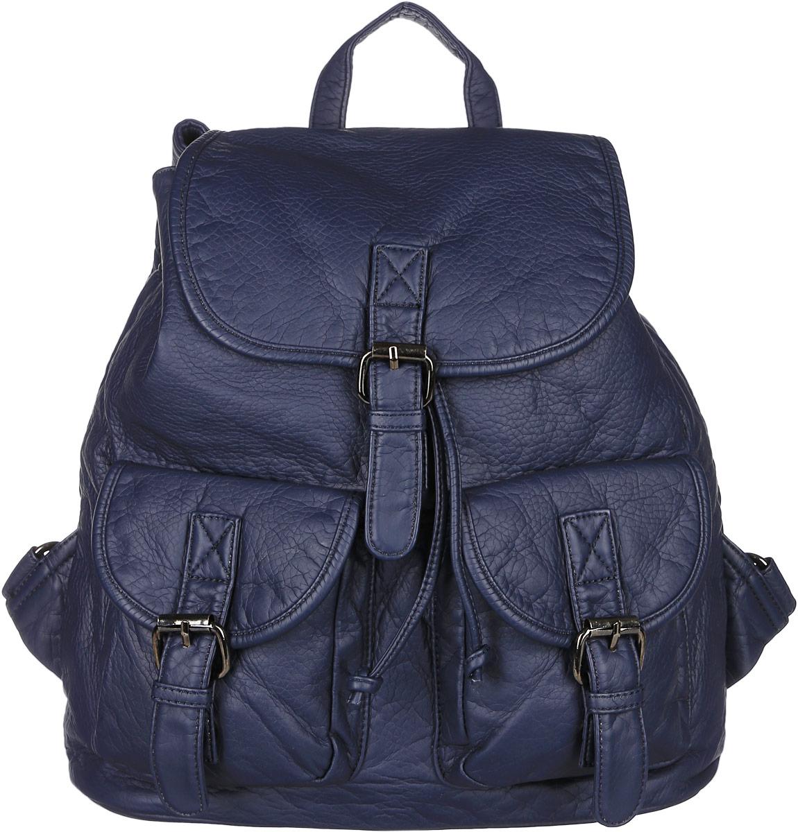 Рюкзак женский Janes Story, цвет: темно-синий. TW-8915-60TW-8915-60Стильный женский рюкзак Janes Story выполнен из искусственной кожи. Изделие содержит отделение, закрывающееся с помощью затягивающего шнурка с фиксатором и клапана с магнитным замком. Внутри расположены: два накладных кармана для мелочей и два кармана на молнии. Спереди рюкзак дополнен двумя карманами, которые застегиваются при помощи хлястиков с пряжками, сзади прорезным карманом на молнии. Рюкзак оснащен удобными лямками регулируемой длины, а также петлей для подвешивания. Оригинальный аксессуар позволит вам завершить образ и быть неотразимой.