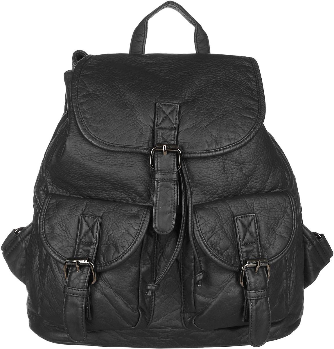 Рюкзак женский Janes Story, цвет: черный. TW-8915-04TW-8915-04Стильный женский рюкзак Janes Story выполнен из искусственной кожи. Изделие содержит отделение, закрывающееся с помощью затягивающего шнурка с фиксатором и клапана с магнитным замком. Внутри расположены: два накладных кармана для мелочей и два кармана на молнии. Спереди рюкзак дополнен двумя карманами, которые застегиваются при помощи хлястиков с пряжками, сзади прорезным карманом на молнии. Рюкзак оснащен удобными лямками регулируемой длины, а также петлей для подвешивания. Оригинальный аксессуар позволит вам завершить образ и быть неотразимой.