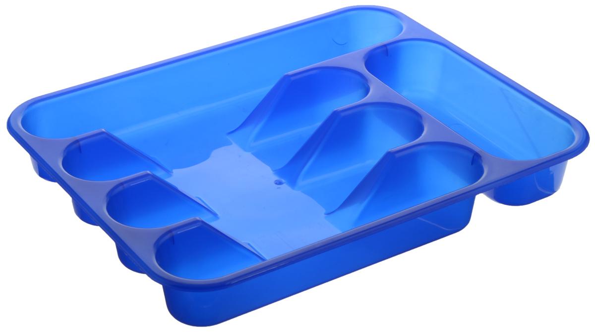 Лоток для столовых приборов ABM Горизонт, 5 отделений, цвет: синий, 33 х 26 х 4 смAB033000_синийЛоток для столовых приборов ABM Горизонт изготовлен из пластмассы. Он предназначен для выдвигающихся ящиков на кухне. Лоток имеет пять отделений: три отделения для вилок, ложек, ножей, одно маленькое отделение для чайных ложек и десертных вилок, одно большое отделение для остальных приборов. Размер большого отделения: 30 х 5,5 см. Размер средних отделений: 23 х 5,5 см. Размер маленького отделения: 18 х 7 см.