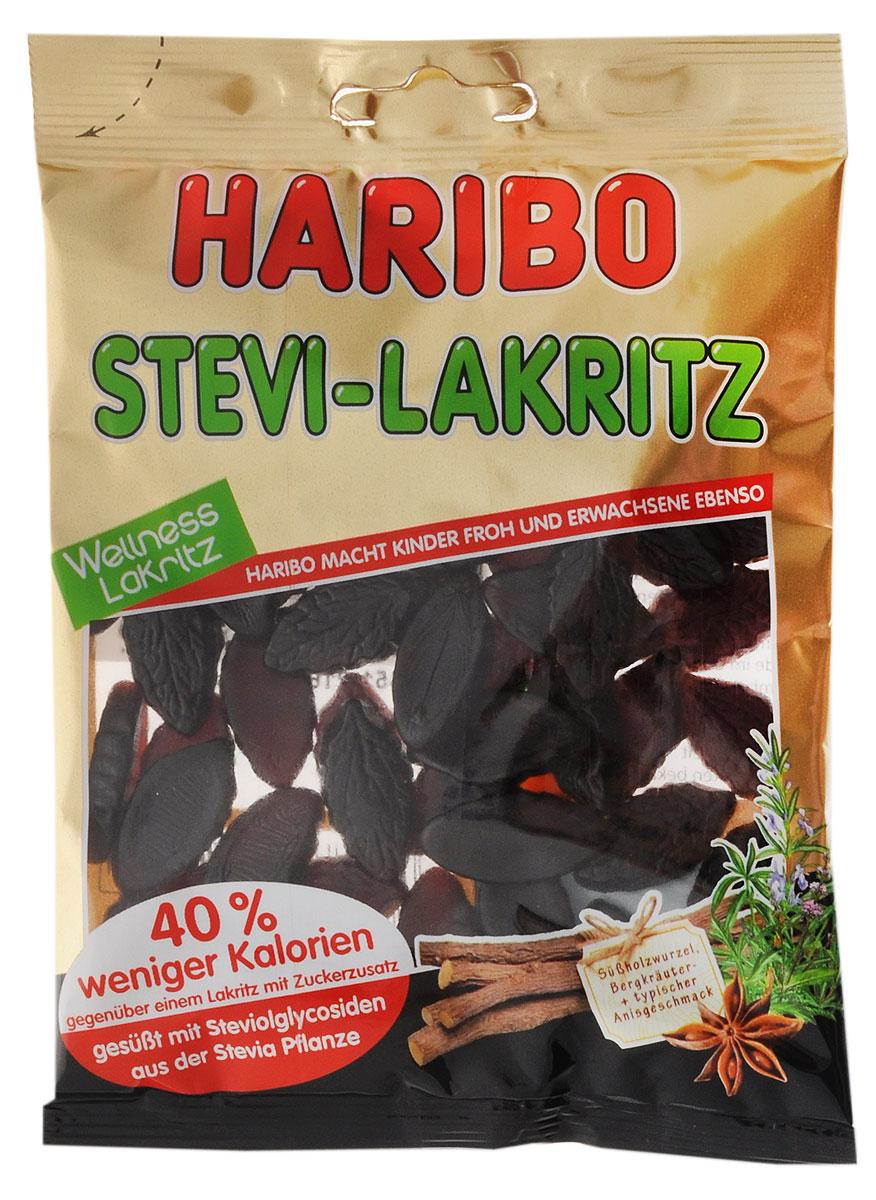 Haribo Лакрица-Стевия жевательные конфеты, 100 г21050Лакрица Стевия от Haribo - это лакричный мармелад специально для тех, кто ведет здоровый образ жизни, ведь в его составе совсем нет сахара! Сахарозаменителем выступает стевиол, экстракт из растения стевия! Лакрица Стевия - это прекрасный лакричный мармелад без сахара!