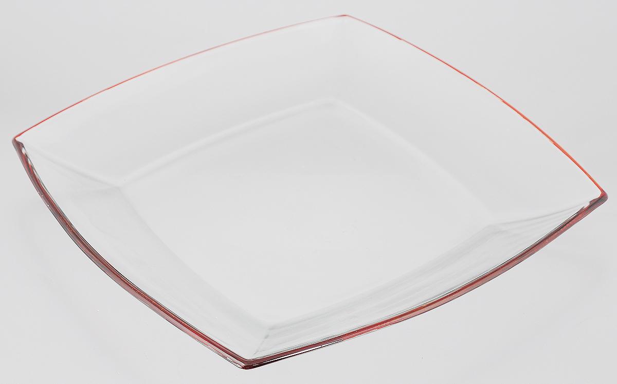 Тарелка Pasabahce Tokio, цвет: прозрачный, оранжевый, 26,5 х 26,5 см54087ORТарелка Pasabahce Tokio выполнена из качественного стекла и украшена цветной окантовкой. Известно каждому, что еда способна утолить голод, а вкусная еда - еще и приносить удовольствие. Но только став обладателем такой тарелки, можно понять, что еда - это еще и возможность создать себе прекрасное настроение. Размеры тарелки позволяют легко вместить даже самую большую порцию. Подходит для хранения в холодильнике. Размер тарелки: 26,5 х 26,5 см.