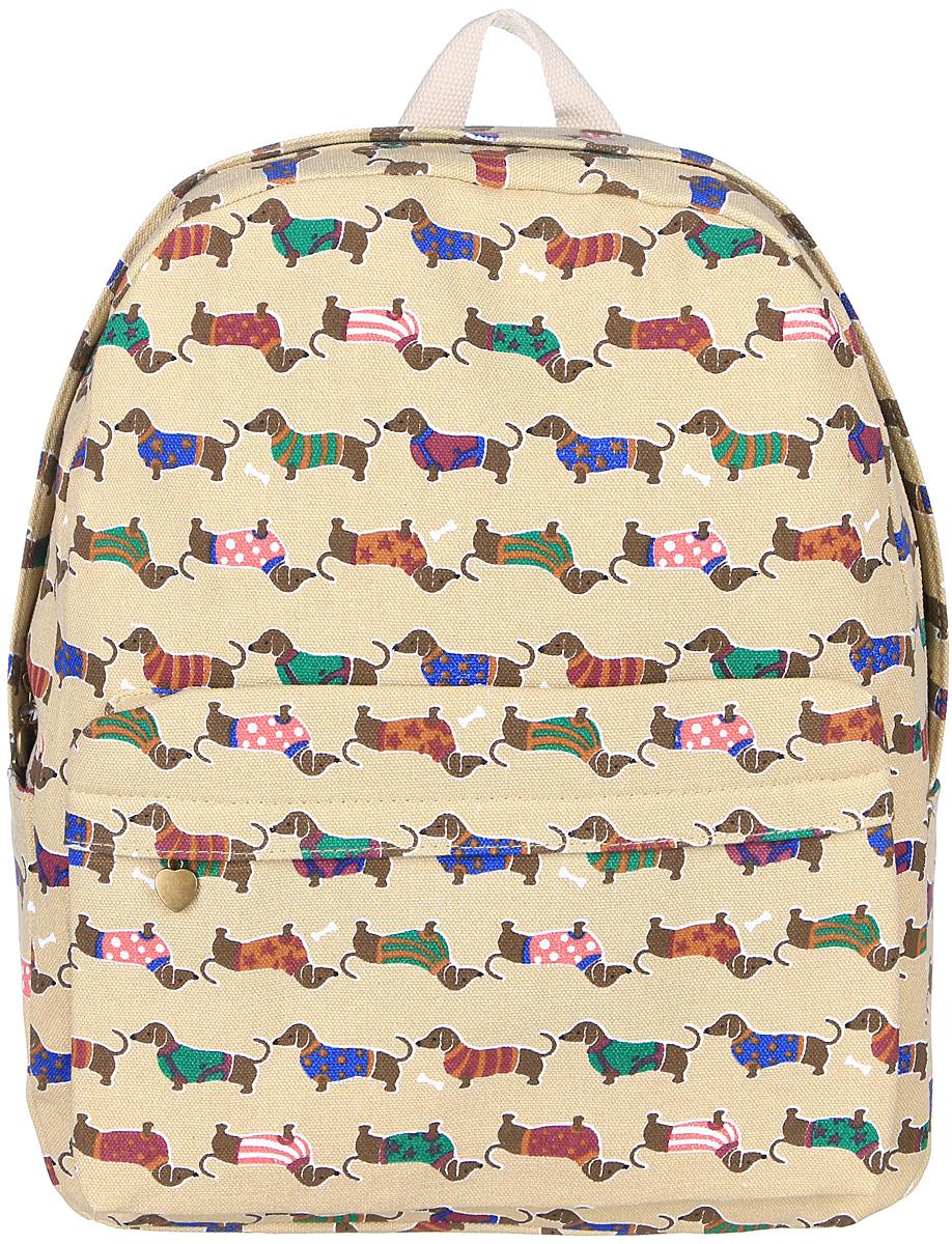 Рюкзак женский Kawaii Factory, цвет: бежевый. KW102-000248KW102-000248Рюкзак женский Kawaii Factory - идеальное сочетание креативного дизайнерского подхода и простоты исполнения. Модный рюкзак с собачками удобный и функциональный, сшит из прочного материала. В нем есть все, что нужно - одно основное отделение, закрывающееся на застежку-молнию, один внутренний накладной карман, а также карман на молнии. По бокам рюкзака имеются небольшие кармашки для различных мелочей. Благодаря отличной эргономичности прогулочный рюкзак будет практически невесомым на вашей спине. Спереди модель дополнена накладным карманом на застежке-молнии. Рюкзак оснащен широкими лямками регулируемой длины и ручкой для переноски в руке. Практичный и стильный аксессуар позволит вам завершить свой образ.