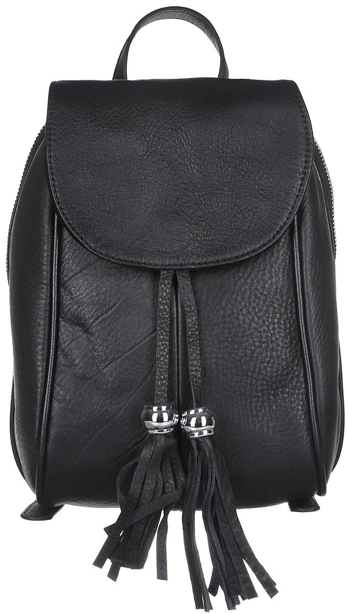 Рюкзак женский Janes Story, цвет: черный. AL-9018-04AL-9018-04Стильный женский рюкзак Janes Story выполнен из натуральной кожи зернистой фактуры. Изделие содержит отделение, закрывающееся с помощью металлической застежки-молнии и клапана с магнитным замком. Внутри расположены: два накладных кармана для мелочей и один карман на молнии. Спереди рюкзак дополнен одним карманом на молнии, сзади прорезным карманом на молнии. Рюкзак оснащен удобными лямками регулируемой длины, а также петлей для подвешивания. Модель дополнена подвесками с кисточками. Оригинальный аксессуар позволит вам завершить образ и быть неотразимой.