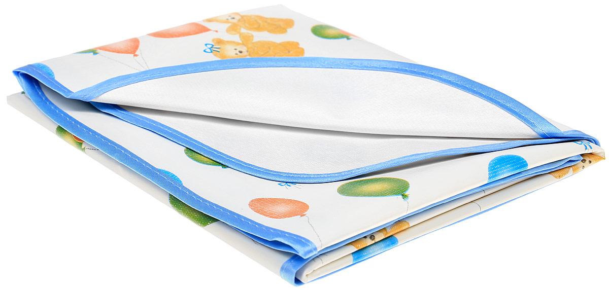 Колорит Клеенка подкладная с окантовкой цвет белый ,голубой 70 х 100 см