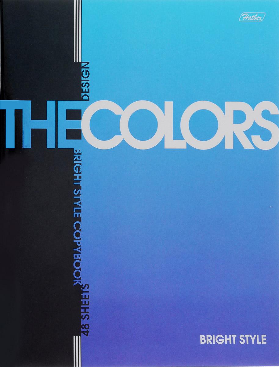Hatber Тетрадь The Colors 48 листов в клетку цвет синий48Т5мтВ1_14480_Тетрадь Hatber из серии The Colors отлично подойдет для занятий школьнику, студенту или для различных записей. Обложка, выполненная из плотного металлизированного картона украшена изображением английских букв. Внутренний блок тетради, соединенный металлическими скрепками, состоит из 48 листов белой бумаги в голубую клетку с полями.