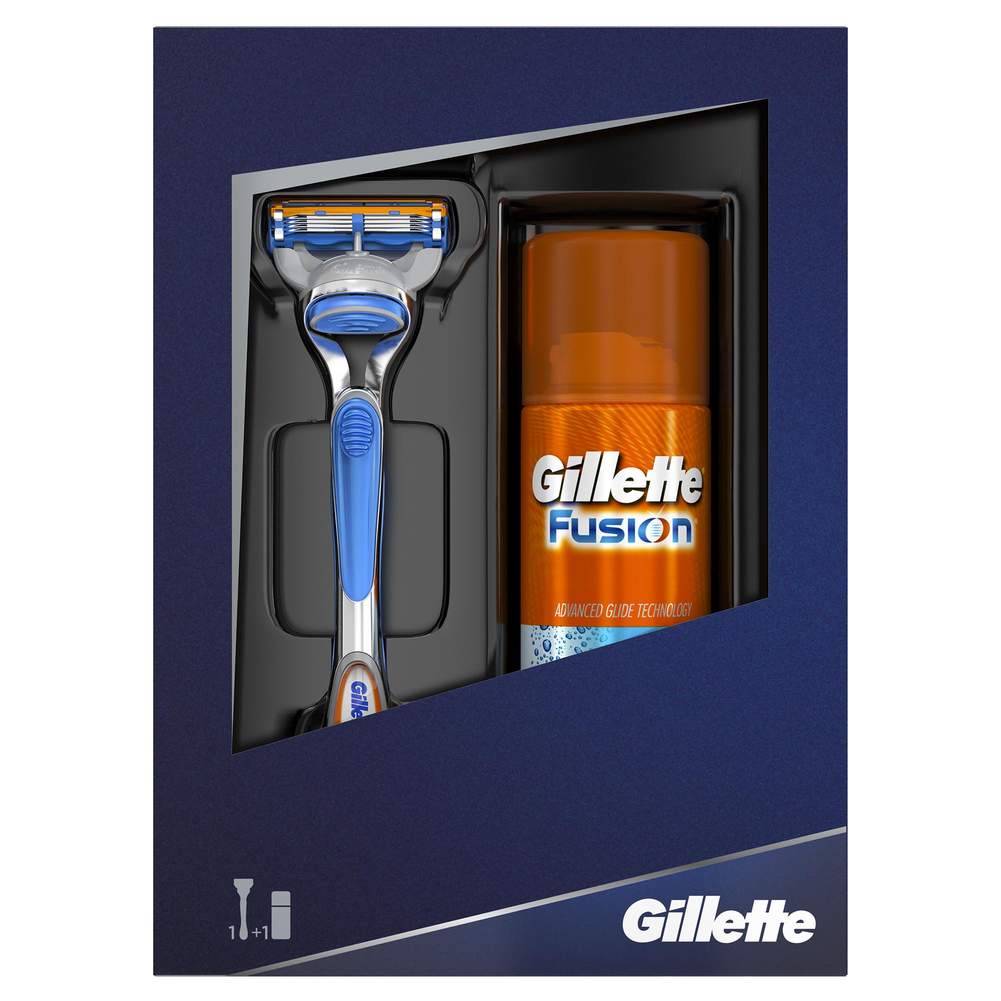 Подарочный набор Gillette Fusion: Мужская Бритва Gillette Fusion + Гель для бритья Gillette Fusion Hydra gel увлажняющий, 75 мл