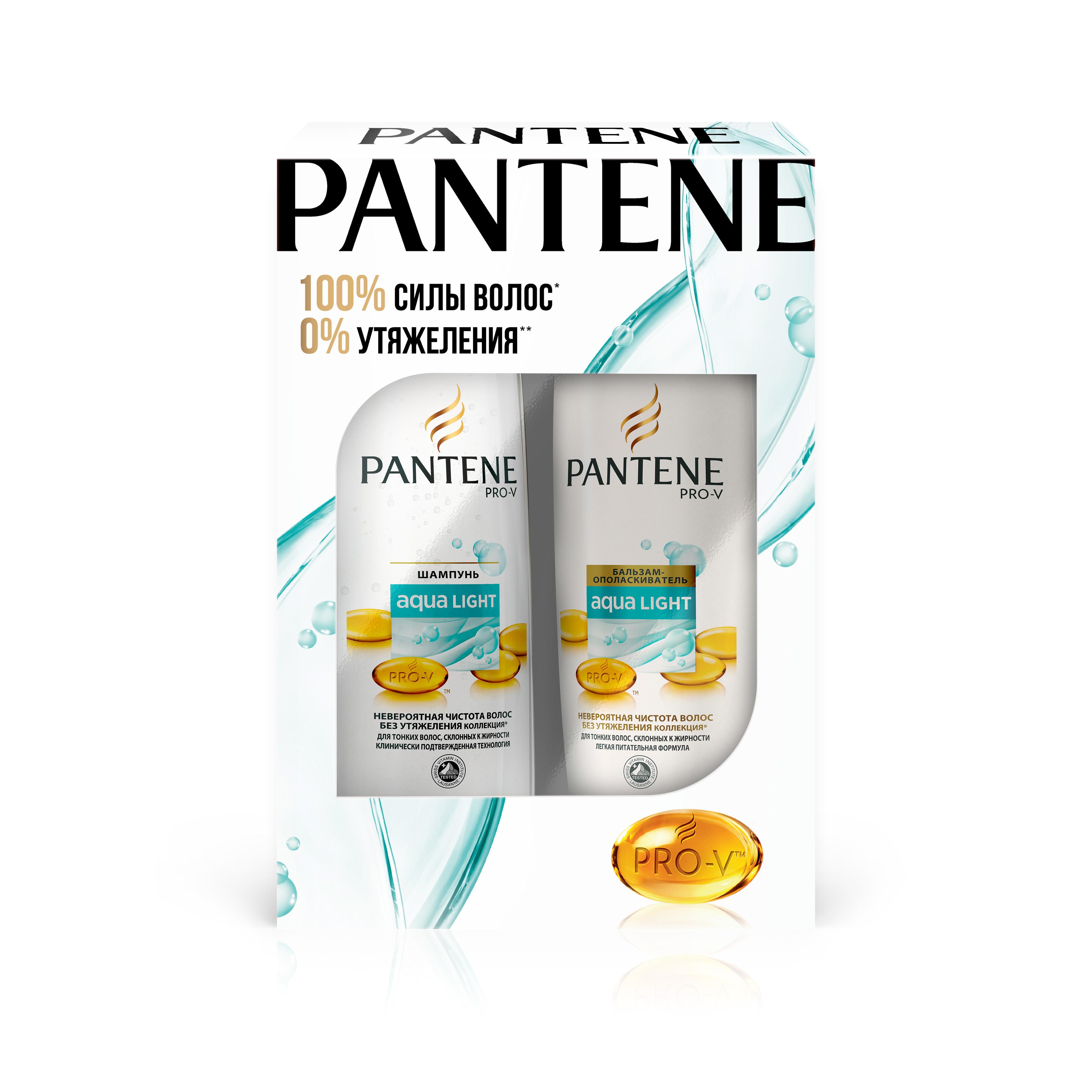 Подарочный набор Pantene шампунь 250мл + бальзам-ополаскиватель 320мл Aqua LightPT-81603173Подарочный набор от Pantene включает: Шампунь 250мл + Бальзам 200мл, серия Aqualight