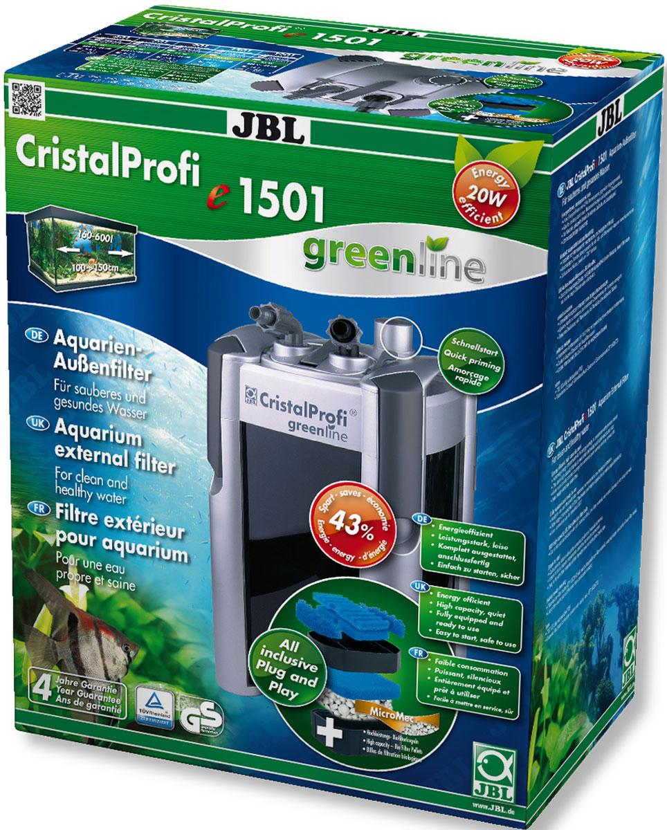 Экономичный внешний фильтр для аквариумов JBL CristalProfi e1501 greenline от 200 до 700 л, до 150 см длиной и больше, 1500 л/ч, с наполнителями и аксессуарамиJBL6021200JBL CristalProfi e1501 greenline - Экономичный внешний фильтр для аквариумов от 200 до 700 литров, до 150 см. длиной и больше, 1500 л/ч, с наполнителями и аксессуарами