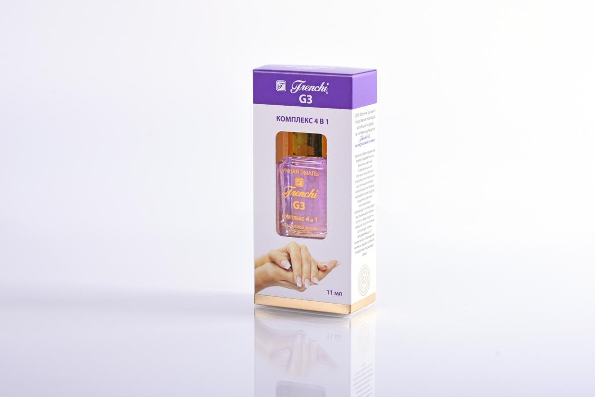 Frenchi G3 Комплекс 4 в 1 на акриловой основе, 11 млУТ00000772Комплекс 4 в одном Frenchi G3 на акриловой основе с витаминами - универсальное защитное средство для быстрого создания безупречных ногтей. Улучшенная формула, тонко сбалансированный состав компонентов закладывает мощный фундамент для крепкого, эластичного ногтевого ложе, восстанавливает и питает ногтевую пластину, придает глянцевый блеск, усиливает «иммунитет» ногтя к вредному воздействию окружающей среды. Препарат формирует надёжный щит на поверхности ногтя, максимально защищающий их от внешних повреждений и препятствующий их расслоению. Присутствие в составе витамина Е, экстракта чайного дерева, а также наличие мельчайшей бриллиантовой крошки способствует росту и регенерации клеток ногтевого полотна, повышает упругость и эластичность ногтевой пластины, обладает антисептическим и противовоспалительным действием, формирует идеально гладкую поверхность и придает ослепительный блеск ногтям.