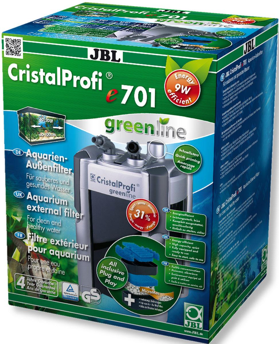 Экономичный внешний фильтр для аквариумов JBL CristalProfi e701 greenline от 60 до 200 л, до 100 см длиной, 700 л/ч, с наполнителями и аксессуарамиJBL6021000JBL CristalProfi e701 greenline - Экономичный внешний фильтр для аквариумов от 60 до 200 литров, до 100 см. длиной, 700 л/ч, с наполнителями и аксессуарами