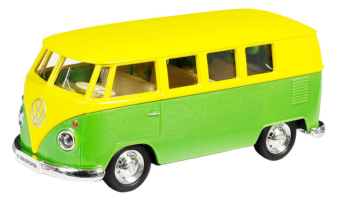 Uni-Fortune Toys Модель автобуса Volkswagen T1 Transporter цвет желтый зеленый554025M(J)_желтый, зеленыйСтильная модель автобуса Uni-Fortune Toys Volkswagen T1 Transporter привлечет внимание не только ребенка, но и взрослого. Модель является точной уменьшенной копией пассажирского автобуса компании Volkswagen в масштабе 1/32. Корпус автобуса выполнен из металла с пластиковыми элементами. Модель обладает инерционным механизмом. Чтобы привести игрушку в движение необходимо ее отвести назад, затем отпустить - и она быстро поедет вперед. Двери автобуса открываются. Такая модель станет отличным подарком не только любителю автомобилей, но и человеку, ценящему оригинальность и изысканность, а качество исполнения представит такой подарок в самом лучшем свете.