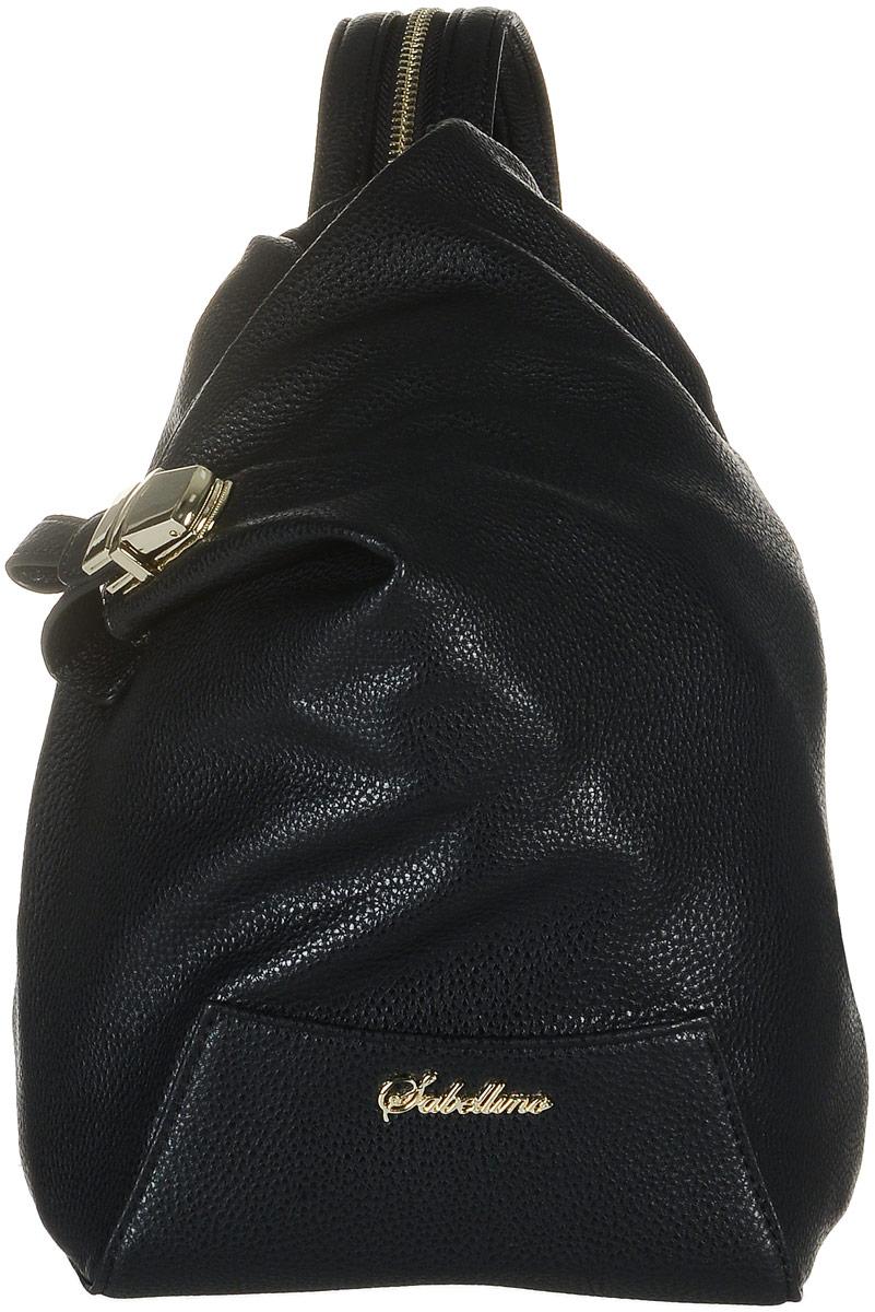 Рюкзак женский Sabellino, цвет: черный. 0111016700_010111016700_01Рюкзак женский Sabellino выполнен из мелкозернистой эко-кожи. Изделие закрывается на застежку-молнию и дополнительный замок. На лицевой стороне изделие дополнено металлической пластиной с названием бренда. Внутри - большое отделение, которое дополнено одним прорезным карманом на застежке- молнии. Снаружи, на задней стенке размещен прорезной карман на застежке- молнии. Изделие оснащено удобными плечевыми лямками, которые регулируются по длине и при помощи молнии застегиваются в одну лямку. В этом сезоне этот модный аксессуар поможет вам быть в тренде!