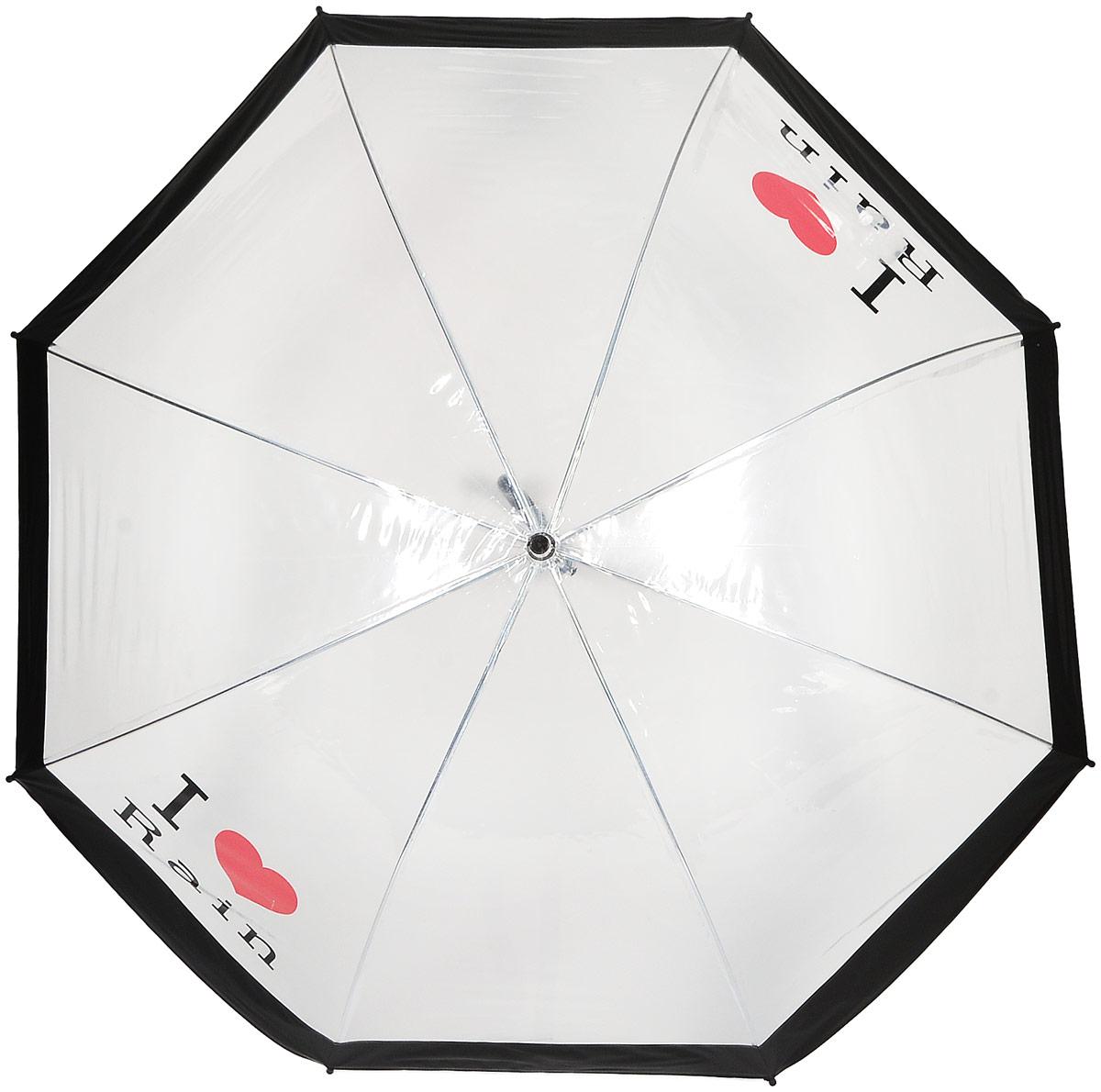 Зонт женский Kawaii Factory, цвет: прозрачный. KW042-000057KW042-000057Элегантный прозрачный зонт-трость от Kawaii Factory с надписью I love rain и глубоким куполом позволит вам выглядеть стильно в ненастную погоду. Зонт состоит из стержня и 8 спиц, изготовленных из металла. Купол изготовлен из качественного ПВХ, который надежно защитит вас от дождя. Зонт дополнен удобной ручкой из пластика, которая выполнена в виде крючка. Также зонт имеет пластиковый наконечник, который устраняет попадание воды на стержень и уберегает зонт от повреждений. Изделие имеет полуавтоматический механизм сложения: купол открывается нажатием кнопки на ручке, а складывается вручную до характерного щелчка.