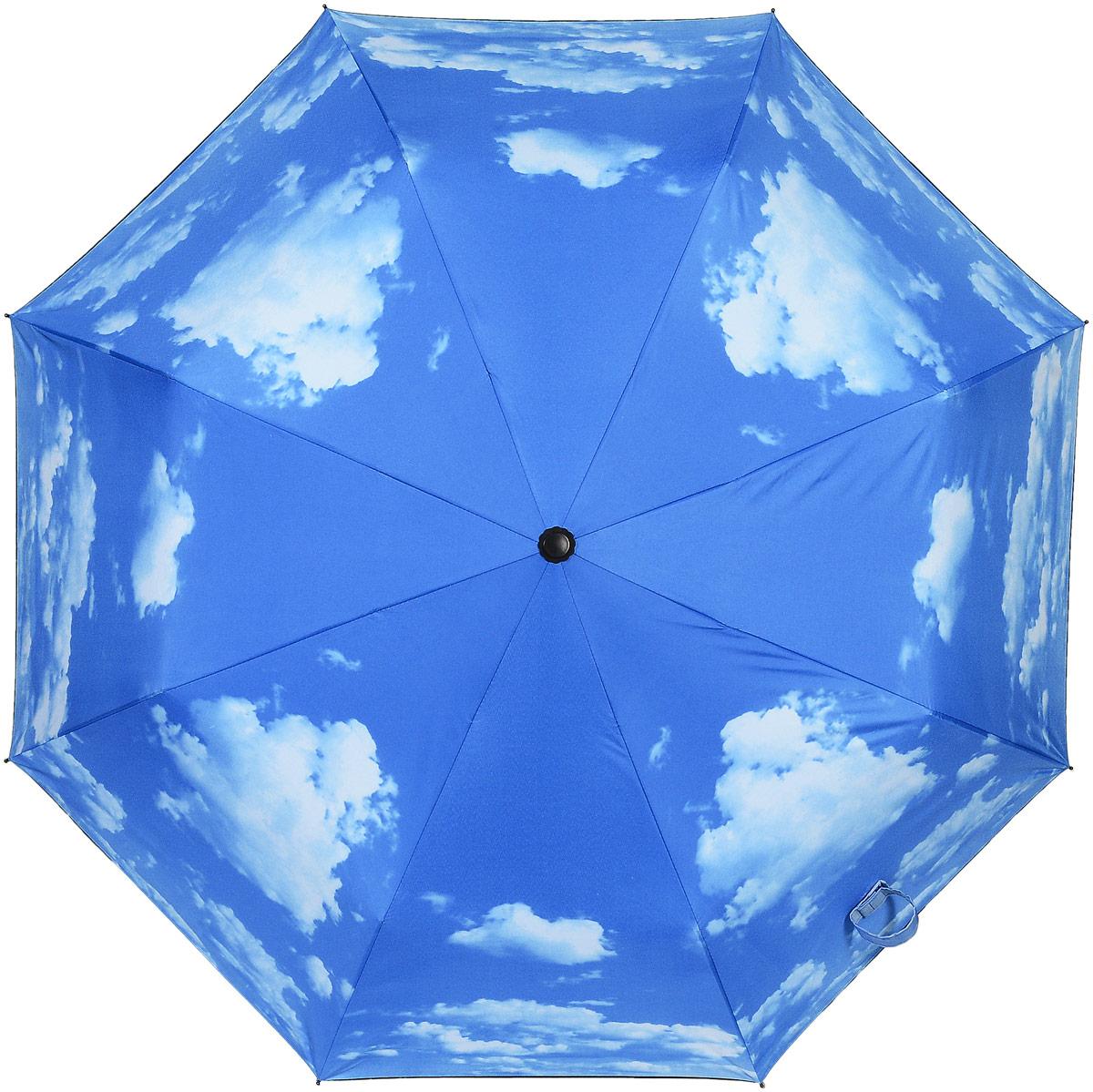 Зонт женский Kawaii Factory, цвет: голубой. KW042-000193KW042-000193Стильный механический зонт Kawaii Factory в два сложения даже в ненастную погоду позволит вам оставаться стильной и элегантной. Каркас зонта из металла состоит из восьми спиц, оснащен удобной рукояткой с противоскользящей поверхностью. Купол зонта выполнен из прочного полиэстера. Закрытый купол фиксируется хлястиком на липучке. К зонту прилагается чехол.