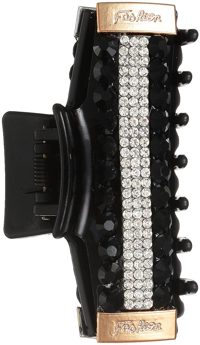 Заколка-краб Fashion House, цвет: черный. FH33219FH33219Заколка-краб для волос Fashion House изготовлена из пластика. Заколка украшена переливающимися стразами. Заколка имеет надежный зажим, фиксирующий волосы. Заколка-краб станет практичным и стильным аксессуаром, с помощью которого вы сможете создавать креативные прически разных типов и стилей.