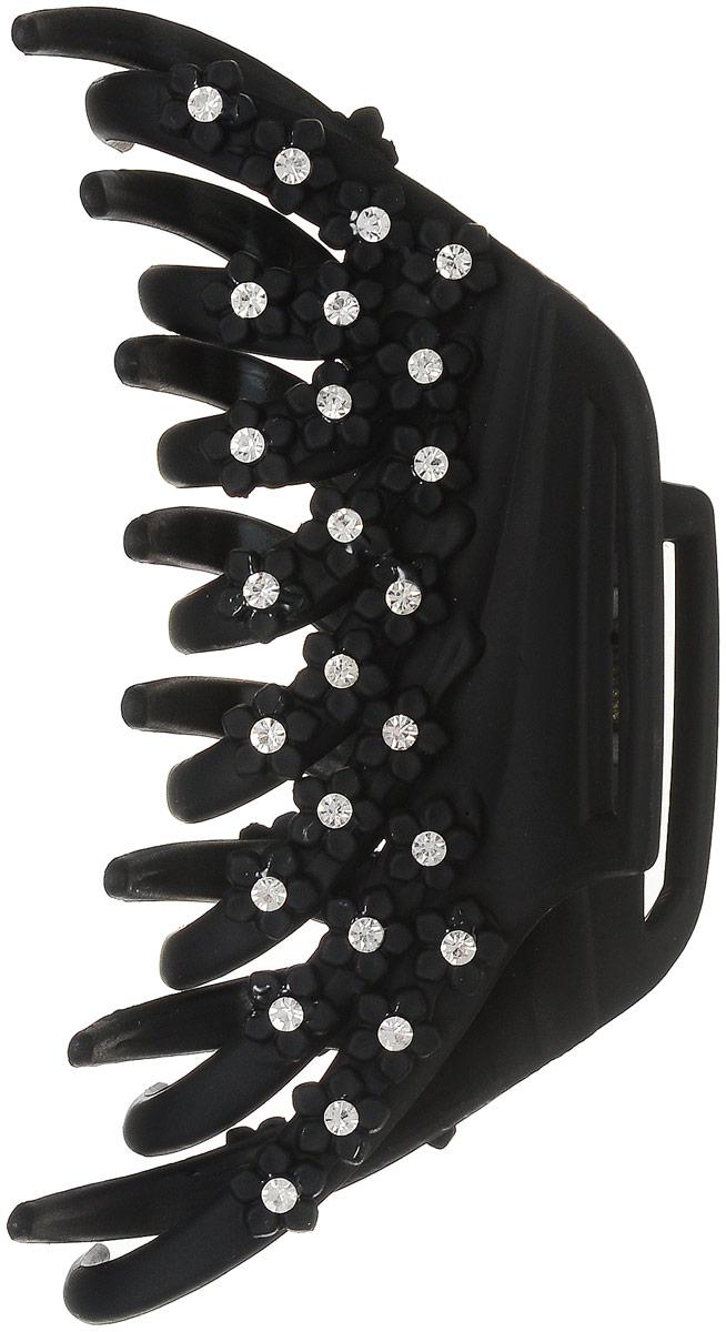 Заколка-краб Fashion House, цвет: черный. FH33218FH33218Заколка-краб Fashion House произведена из пластика и оформлена миниатюрными цветками со светлыми стразами.Заколка-краб поможет вам выглядеть элегантно, индивидуально и красиво каждый день!
