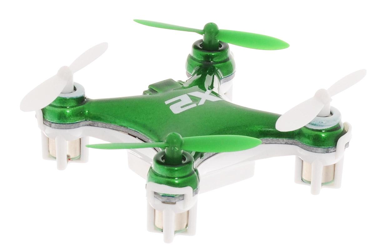 Pilotage Квадрокоптер на радиоуправлении Nano-X2 цвет зеленыйRC17301Мини-квадрокоптер на радиоуправлении Nano X2 отлично подходит для полетов в закрытых помещениях и на улице при отсутствии ветра. Благодаря продуманной конструкции, качественным материалам и чрезвычайно небольшому весу, Nano X2 без повреждений может выдержать падения с небольшой высоты или столкновения с препятствиями. Игрушка может летать вперед-назад, вверх-вниз, вращаться, зависать в воздухе и делать перевороты вокруг своей оси (мертвая петля). Квадрокоптер оснащен проблесковыми огнями для полета в темноте. Квадрокоптер работает от встроенного аккумулятора, который можно заряжать от USB-шнура (входит в комплект). Для работы пульта управления необходимо докупить 2 батарейки типа ААА (в комплект не входят).