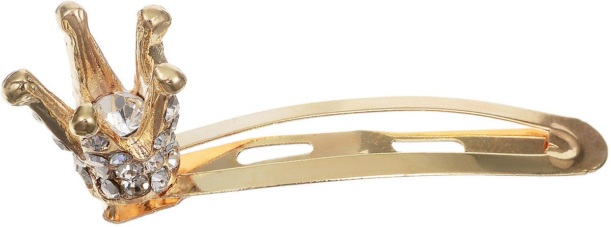 Зажим для волос Fashion House, цвет: золотой. FH33200FH33200Изящный зажим для волос Fashion House выполнен из металла в виде короны, усыпанной стразами. Зажим прекрасно подойдет самой капризной моднице на торжественное мероприятие или в обычный день.