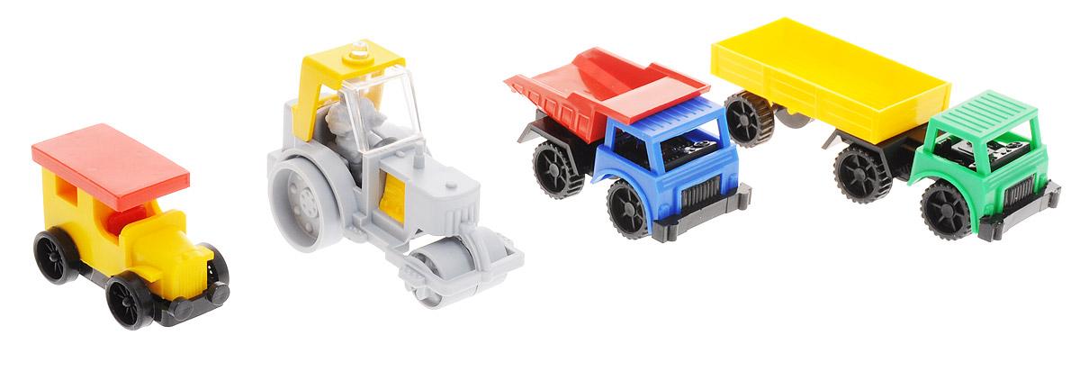 Форма Набор машинок Спецтехника 4 штС-88-ФНабор машинок Форма Спецтехника обязательно порадует малыша. В набор входят 4 прочные и яркие машинки из высококачественного материала: каток, самосвал, грузовик с полуприцепом, а также старинный автомобиль с кузовом Фаэтон. Машинки можно собирать и разбирать. С ними ребенок сможет воплотить в игре множество интересных сюжетов, связанных со стройкой или ремонтными работами. Машинки отлично подходят даже для игры в песочнице.