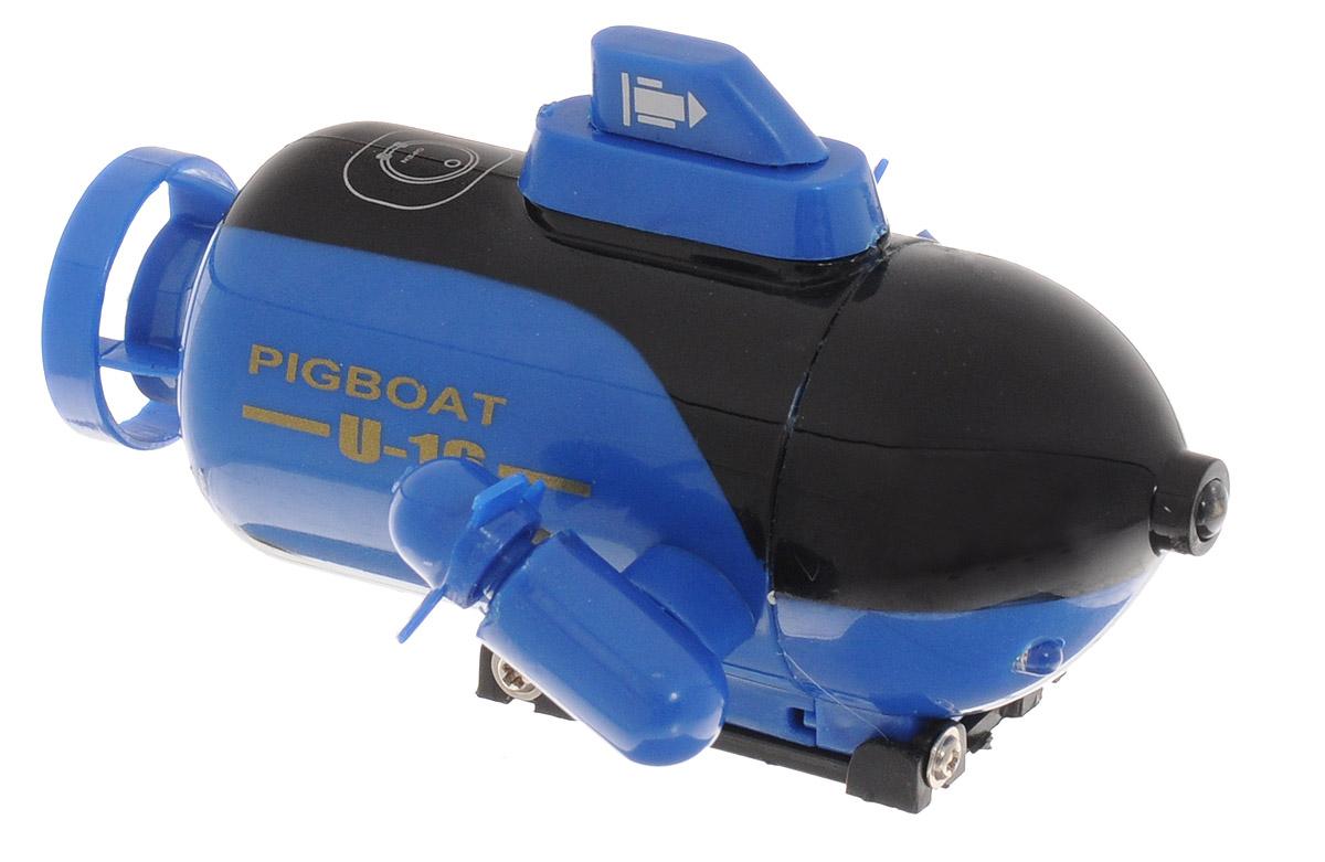 Pilotage Подводная лодка на радиоуправлении Mini Submarine цвет синийRC13508Подводная лодка на радиоуправлении Pilotage Mini Submarine умеет всё, что умеют настоящие субмарины: быстро погружаться и всплывать, двигаться вперёд и назад, два винта обеспечивают великолепную маневренность. В передней части подлодки расположены три светодиода, что делает погружения особенно привлекательными в тёмноте. Mini Submarine работает без подзарядки 3-5 минут, заряжается от пульта, время зарядки - до 10 минут. Практичная конструкция, простота в управлении, надежность - все эти качества позволяет получить массу удовольствия, запуская модель в ванной или в аквариуме и даже в небольшом чистом водоеме. Погружайтесь, оставайтесь на поверхности, маневрируйте, а если есть единомышленники и друзья - покупайте несколько лодок, и устраивайте подводные гонки! Подводная лодка работает от встроенного аккумулятора. Для работы пульта управления необходимы 4 батарейки типа АА напряжением 1,5V (не входят в комплект).