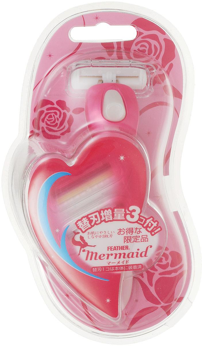 Feather Бритвенный станок для женщин с 3 запасными лезвиями Mermaid розовая роза4902470443300Лезвия изобретены и сконструированы специально для женщин. Наличие 3х лезвий обеспечивает щадящее и гладкое бритье. Оснащен специальным роликом, излучающим отрицательные ионы, приятно подтягивает кожу, обеспечивая более чистое бритье. Движение головки вверх-вниз и справа-налево дает возможность полностью повторять контуры тела и позволяет брить самые неудобные места.