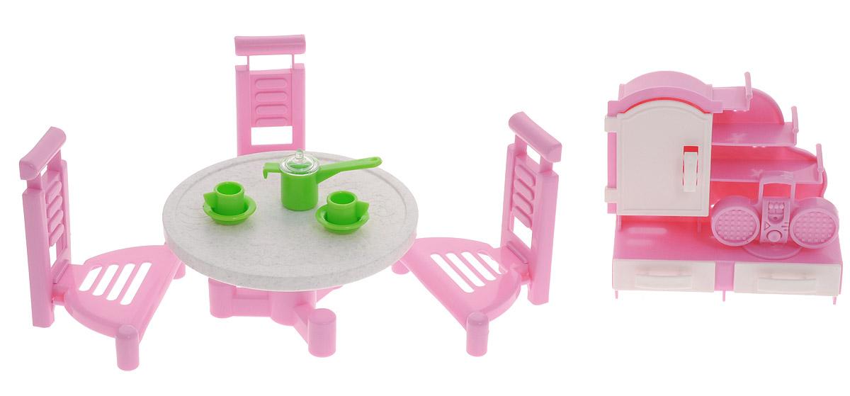 Форма Набор мебели для кукол Гостиная 2С-79-ФМебель для кукол Форма Гостиная - отличное место, где могут собираться, принимать гостей и вести беседы куклы девочек. Такой набор сделает уютным любой кукольный домик. Набор, выполненный из полипропилена розового цвета, надолго займет внимание вашей малышки. Набор включает в себя шкаф, круглый стол, три стула и посуду. Дверца у шкафчика открывается, ящики выдвигаются. Такой набор подойдет небольшим куколкам вашей малышки. Набор кукольной мебели для гостиной - отличный подарок для маленькой принцессы и ее кукол.