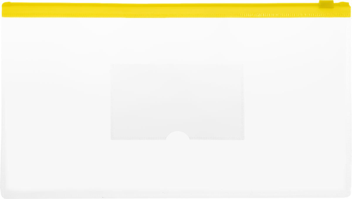 Бюрократ Папка-конверт на молнии с карманом под визитку цвет желтый
