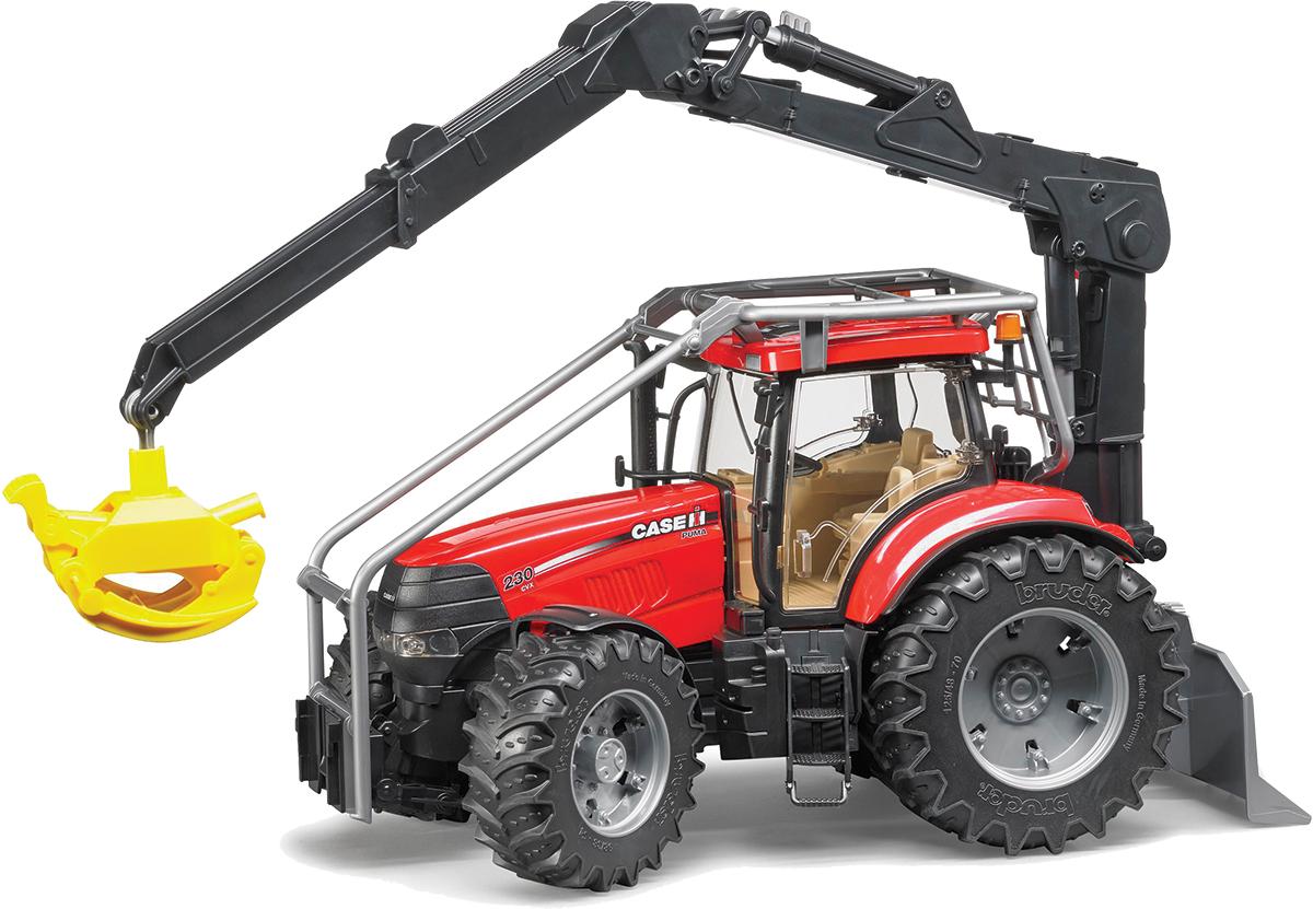 Bruder Трактор Case CVX 230 с захватом для бревен03-097Трактор Bruder Case CVX 230 станет одной из любимых игрушек вашего ребенка! Модель выполнена из качественного и безопасного пластика. Кабина трактора застеклена, оборудована вращающимся рулем, креслом и рычагом управления. При повороте руля колеса изменяют свое направление. Капот трактора открывается, предоставляя доступ к двигателю. Крупные колеса трактора резиновые с протекторами, что обеспечивает тихий ход машины и сохранность напольного покрытия. Игра с такой техникой развивает у ребенка логическое мышление и воображение, мелкую моторику, зрительное восприятие и память.
