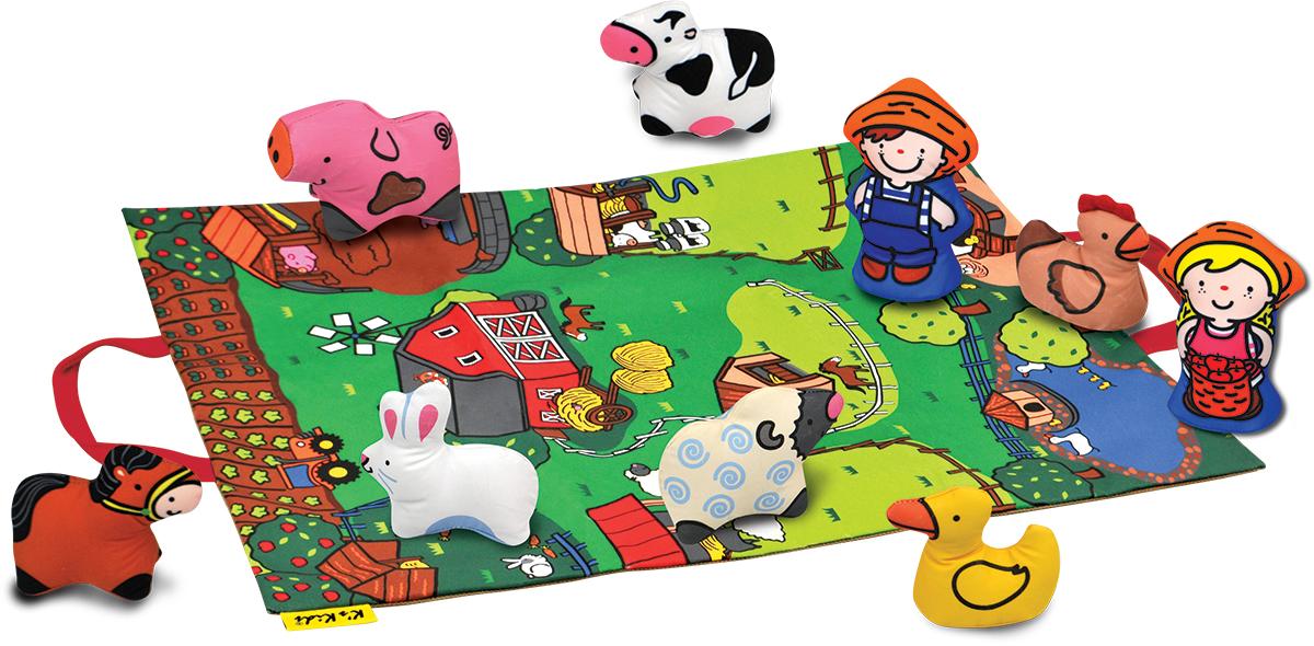 KS Kids Развивающая игрушка ФермаKA743Развивающая игрушка Ks Kids Ферма вызовет интерес у каждого малыша. Играйте, учите названия и придумывайте захватывающие истории. Коврик превращается в удобную сумку для хранения и переноски (крепление на липучках). Каждая игрушка обладает развивающим элементом: текстурой, пищалкой, шуршалкой или погремушкой. Животные и коврик выполнены из качественного и безопасного материала, который можно стирать.