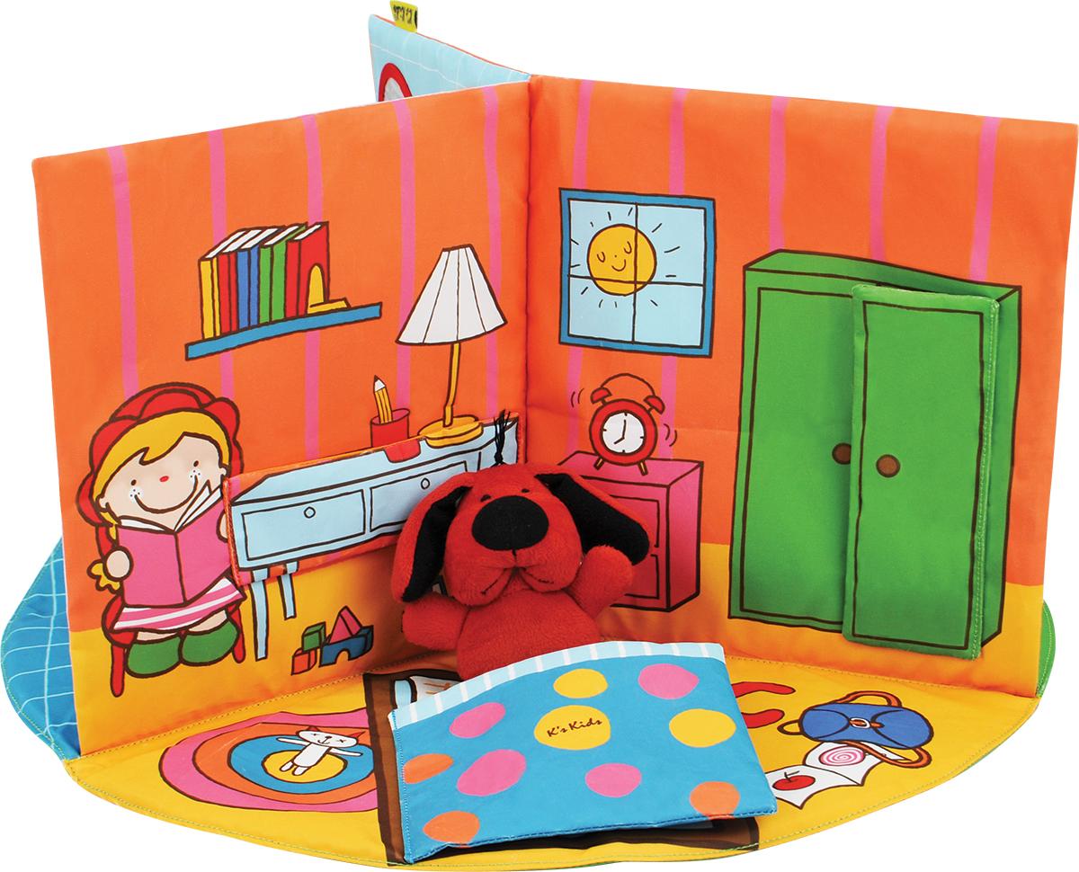 KS Kids В гостях у ПатрикаKA745Мягкая 3D книжка легко раскладывается и превращается в настоящий домик из 3 комнат (спальня, ванна и дворик). В комплекте также идёт мягкая ролевая игрушка Патрик. •В каждой комнате находятся различные развивающие элементы: текстуры, шуршалки, безопасное зеркало. •Одеяльце, и дверца открываются. •Патрик и домик выполнены из ткани которую можно стирать. •Легко складывается для хранения. Размер ролевой игрушки: 8,5 x 10 см. Размер домика: 40 x 40 х 21,5 см.
