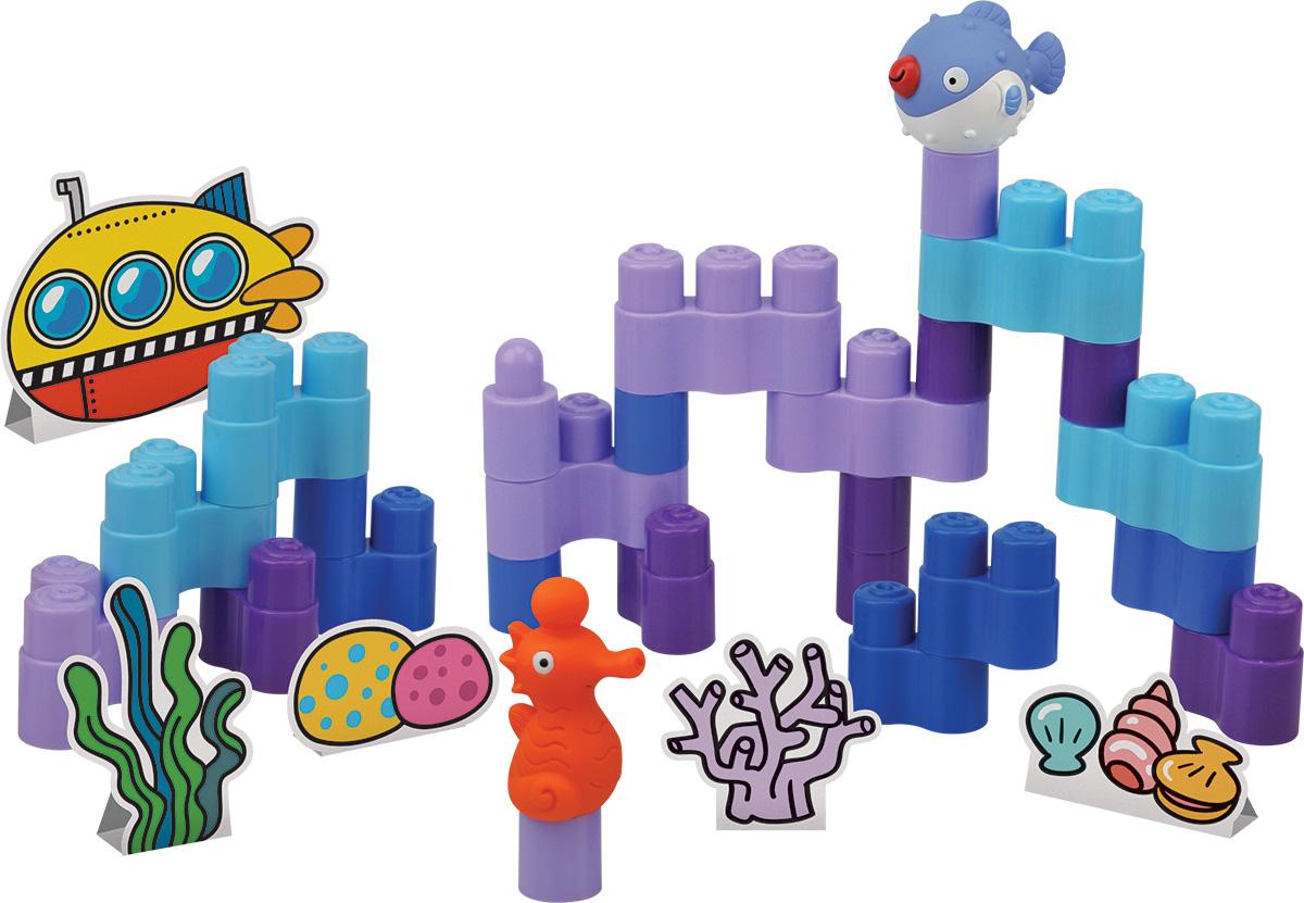 KS Kids Конструктор Подводный мирKA749Если вашему малышу надоело собирать конструктор, то можно немного разнообразить это увлечение крохи и предложить ему не просто собрать яркие постройки, а объединить их в единую композицию, которая напомнит детям подводный мир. А роль главных героев в этом морском царстве будут выполнять фигурки морского конька и яркой рыбки. Конструктор KS Kids Подводный мир включает в себя 25 элементов, 2 фигурки морских обитателей и карточки с декорациями. Элементы конструктора очень легко соединяются друг с другом, поэтому кроха без труда сможет возвести яркие постройки для игр. А в процессе соединения деталей друг с другом дети улучшают мелкую моторику рук и тактильное восприятие.
