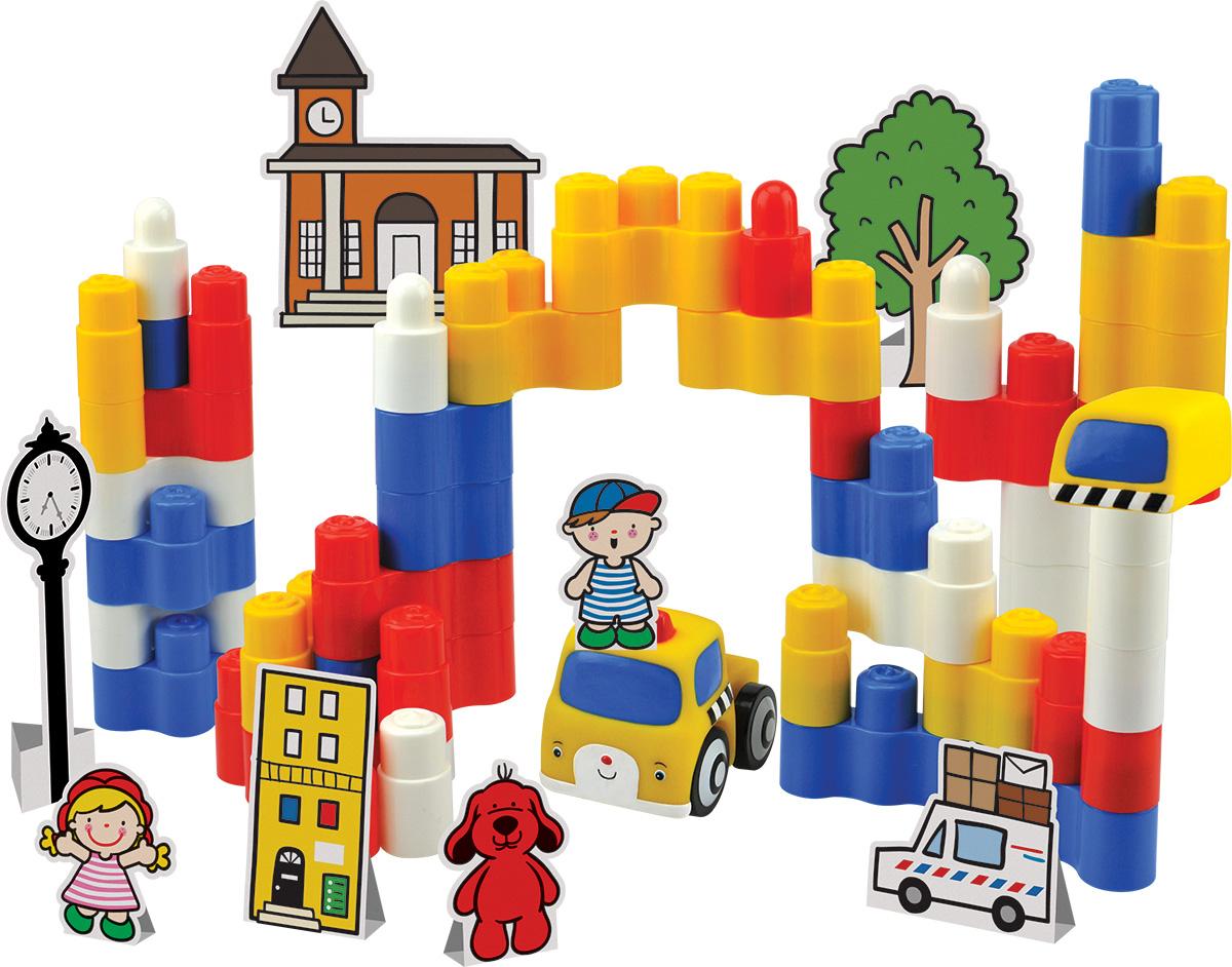 KS Kids Конструктор Город мечтыKA750Если вашему малышу надоело собирать конструктор, то можно немного разнообразить это увлечение крохи и предложить ему не просто собрать яркие постройки, а объединить их в единую композицию, которая напомнит детям город мечты. А роль главных героев в этом городе будут выполнять пластиковые фигурки человечков. Конструктор KS Kids Город мечты включает в себя 50 элементов, 1 фигурку автомобилей и карточки с декорациями. Элементы конструктора очень легко соединяются друг с другом, поэтому кроха без труда сможет возвести яркие постройки для игр. А в процессе соединения деталей друг с другом дети улучшают мелкую моторику рук и тактильное восприятие.