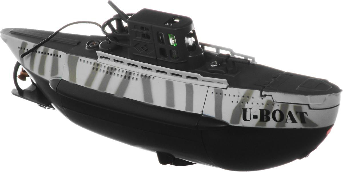 Pilotage Подводная лодка на радиоуправлении UBoat RTRRC15726Подводная лодка на радиоуправлении Pilotage UBoat RTR умеет всё, проста в использовании и управляется при помощи 3-канального передатчика. Подлодка может погружаться на глубину до 60 сантиметров и всплывать, идти вперед или задним ходом, поворачивать в любом направлении и даже крутиться на месте на 360 градусов. В передней части подлодки расположены три светодиода, что делает погружения особенно привлекательными в темноте. Максимальная скорость UBoat RTR- 0,15 узла, а одной зарядки аккумулятора хватает на 15 минут хода, причем аккумулятор модели заряжается от пульта за 20 минут, поэтому бороздить бездну аквариума можно хоть целый день. Практичная конструкция, простота в управлении, надежность - все эти качества позволяет получить массу удовольствия, запуская модель в ванной или в аквариуме и даже в небольшом чистом водоеме. Погружайтесь, оставайтесь на поверхности, маневрируйте, а если есть единомышленники и друзья - покупайте несколько лодок, и устраивайте...