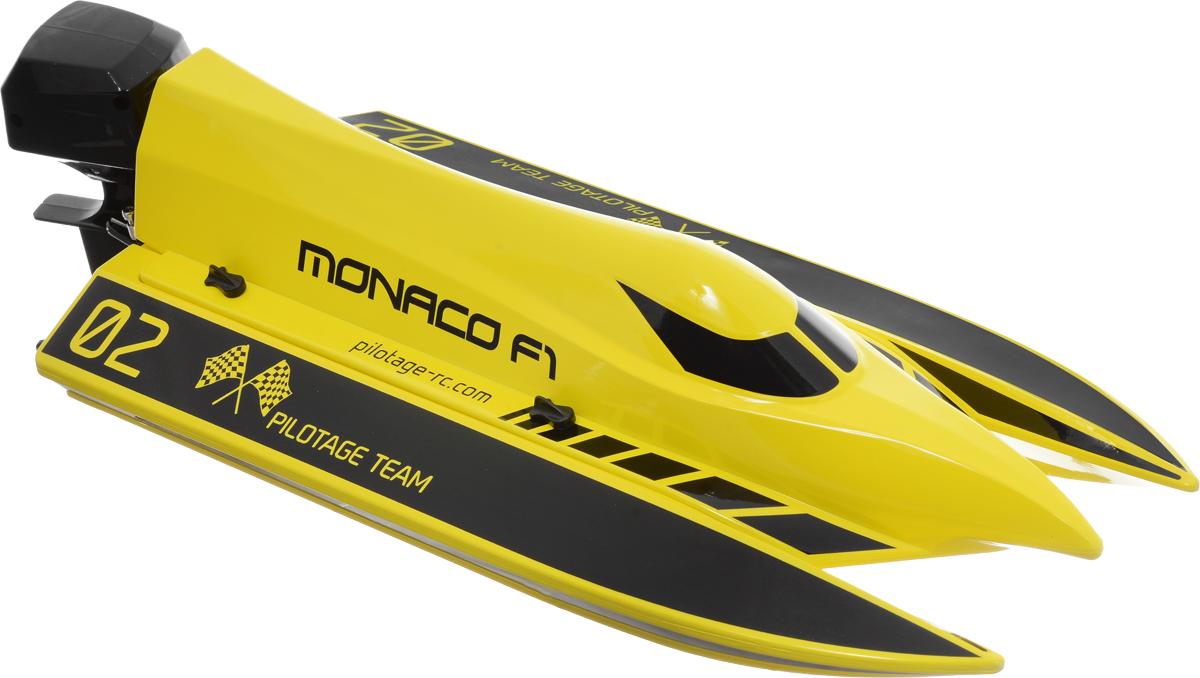 Pilotage Катер на радиоуправлении Monaco F1 RTRRC13631Катер на радиоуправлении Pilotage Monaco F1 RTR с влагозащитной электроникой и современной двухканальной радиоаппаратурой приведет в восторг любого мальчишку. Этот скоростной радиоуправляемый катер создан для гонок на огромной скорости и разгоняется до скорости 40 км/ч! Прочный V-образный корпус имеет функцию антиопрокидывания - даже если ваша модель, проходя поворот на высокой скорости перевернется, вам не придется ее доставать из воды. Катер имеет функцию обратного переворота в нормальное положение. Данная модель практически летит над водой, слегка касаясь ее поверхности реданами и гребным винтом, из-под которого веером вздымается шлейф брызг. Водяное охлаждение двигателя позволяет длительное время носиться на максимальной скорости, не боясь перегрева. Сигнализация о низком напряжении батареи подскажет вам, когда необходимо закончить заезд, чтобы пригнать катер к берегу. Катер комплектуется современной радиоаппаратурой, которая гарантирует пропорциональное...