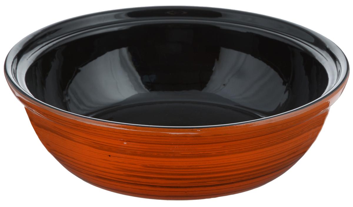 Салатник Борисовская керамика Модерн, цвет: оранжевый, черный, 2,5 лРАД00001012 оранжевыйСалатник Борисовская керамика Модерн выполнен из высококачественной глазурованной керамики. Этот большой и вместительный салатник придется по вкусу любителям здоровой и полезной пищи. Благодаря современной удобной форме, изделие многофункционально и может использоваться хозяйками на кухне как в виде салатника, так и для запекания продуктов, с последующим хранением в нем приготовленной пищи. Посуда термостойкая. Можно использовать в духовке и микроволновой печи. Диаметр (по верхнему краю): 28,5 см. Высота стенки: 8,5 см.