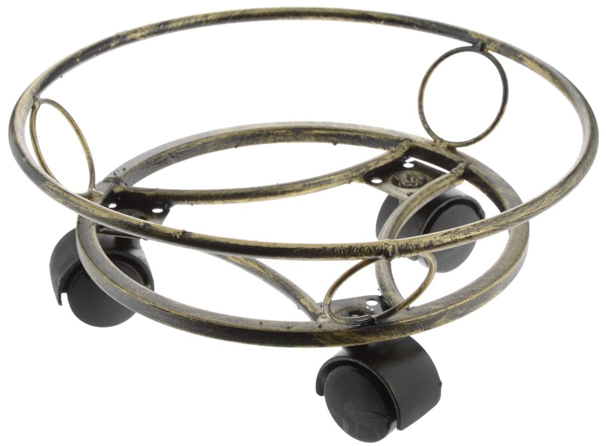 Подставка для цветов Фабрика ковки, напольная, на колесах, цвет: черный, золотистый, диаметр 28,5 см12-001Напольная подставка на колесах для цветов Фабрика ковки выполнена из прочного металла и пластика, в цвете черное с золотым. Подставка снабжена колесиками, благодаря чему цветы будет легко перемещать в пространстве. Такая подставка красиво дополнит интерьер помещения и поможет навести порядок и уют. Диаметр: 28,5 см. Высота: 11,5 см.
