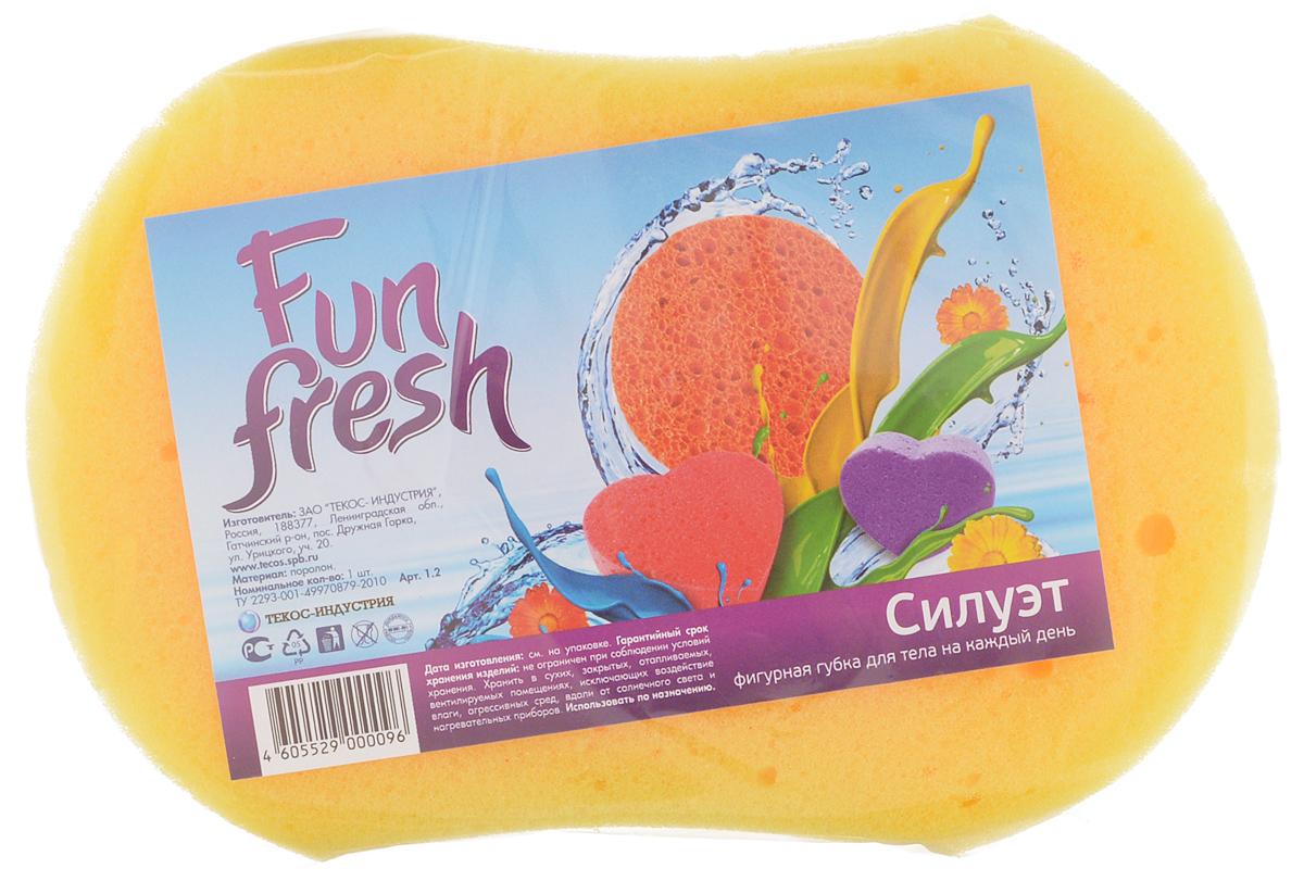 Губка для тела Fun Fresh Силуэт, цвет: желтый, 15,5 х 10,5 х 5 см1.13_желтыйГубка для тела Fun Fresh Силуэт изготовлена из мягкого поролона. Идеально подходит для нежной, чувствительной кожи. Пористая структура губки создает воздушную пену даже при небольшом количестве геля для душа.