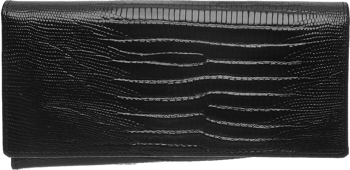 Кошелек женский Janes Story, цвет: черный. K-L-197-04K-L-197-04Кошелек Janes Story выполнен из натуральной кожи с тиснением под рептилию и закрывается клапаном на кнопку. Внутри расположено два вместительных отделения для купюр, одно отделение для мелочи на молнии, два открытых кармана для мелких бумаг и четыре кармана для визитных и дисконтных карт. Также внутри находятся шесть вертикальных карманов для карт, один из которых с прозрачным окошком. Изделие упаковано в фирменную коробку.