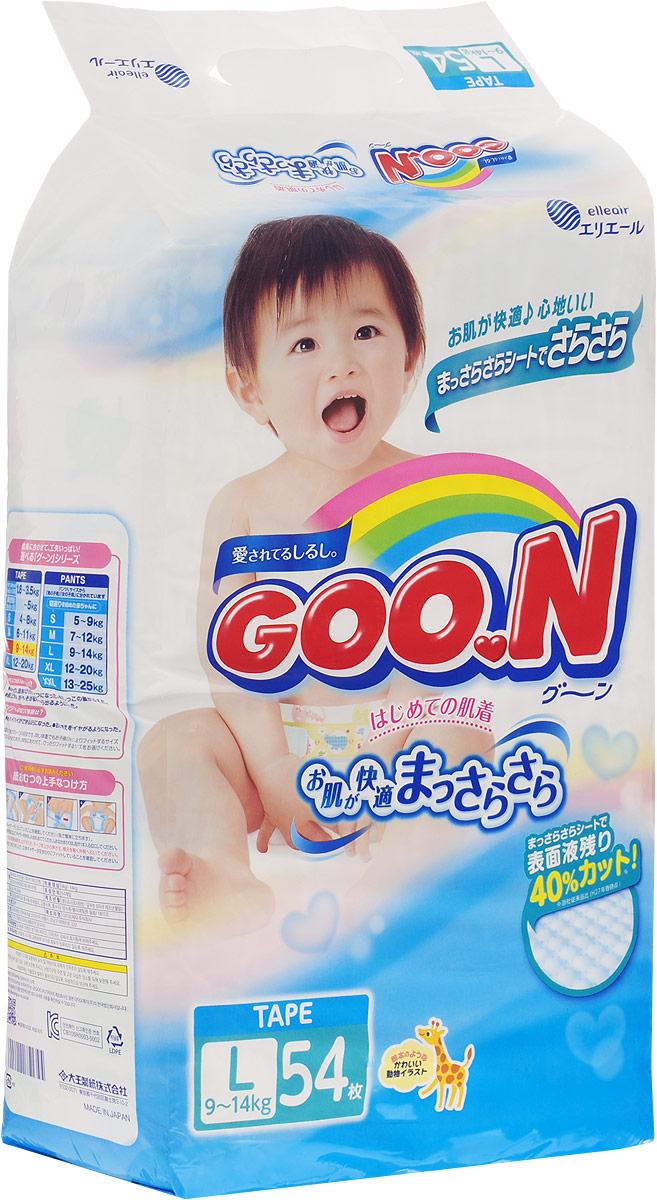 GOON Подгузники, 9-14 кг, 54 шт753134Японские подгузники Goo.N - это новая линейка подгузников с мягким впитывающим слоем с добавлением витамина Е, для еще большей защиты от опрелостей и покраснений. Гладкий как шелк и очень мягкий хлопок идеально подходит для чувствительной кожи Ваших малышей, позволяя коже ребенка дышать. Отделяемая жидкость скапливается в нижнем слое подгузников, при этом кожа не контактирует с мочой ребенка. Мягкая резинка на талии, сделанная из высококачественной лайкры, растягивается и сжимается, благодаря специальной складке, обеспечивая плотное прилегание к телу ребенка и не создавая излишнего давления и дискомфорта. К тому же подгузники Goo.N не протекают и не сползают даже в период активности ребенка. При наполнении линии-индикаторы изменяют цвет на синий, показывая, что произошло мочеиспускание, а значит пора менять подгузник. Характеристики: Весовая категория: 9-14 кг. Размер: L (Large). Размер упаковки: 41 см х 27 см х 12 см.