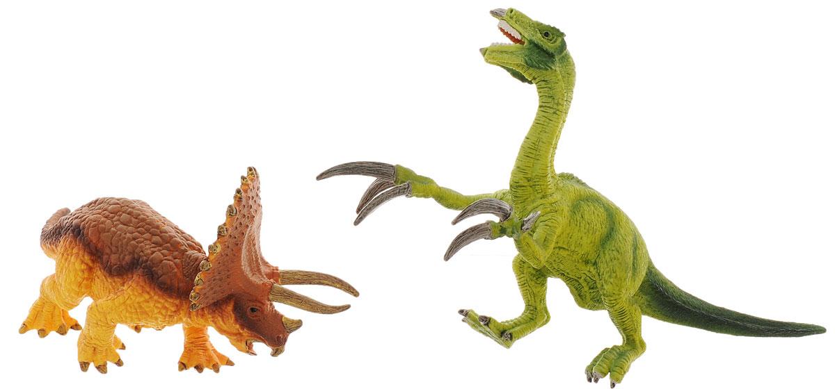 Schleich Набор фигурок Трицератопс и теризинозавр42217Набор фигурок Schleich Трицератопс и теризинозавр приведет в восторг всех любителей динозавров и доисторических животных. В набор входят два динозавра. Великолепные фигурки выполнены с тщательной детализацией. Они позволят ребенку придумать множество захватывающих игр со своими любимыми древними обитателями. Фигурки изготовлены из качественного полимерного материала, который безопасен для детей и не вызывает аллергию. Ребенок сможет собрать целую серию доисторических животных, сможет изучать особенности их строения, поведения и питания. Фигурки Schleich - превосходный педагогический материал для использования дома и в образовательных учреждениях. Набор фигурок Schleich Трицератопс и теризинозавр станет достойным пополнением красочной коллекции игрушек, которые восхищают детей и взрослых во всем мире.