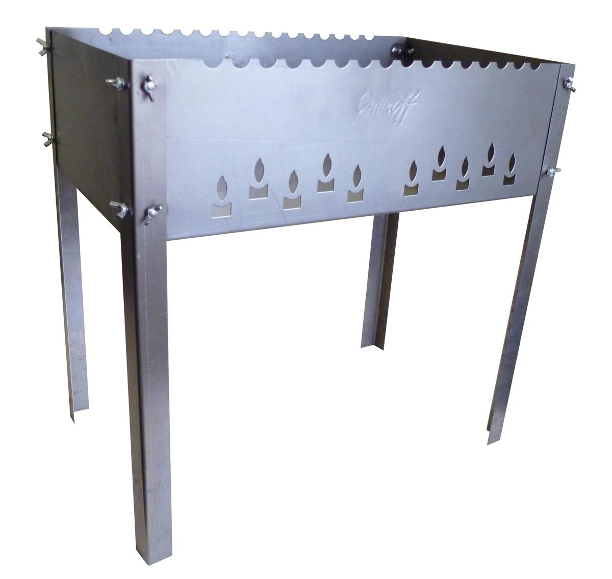 Мангал Grillkoff Max, с 6 шампурами, 50 х 30 х 50 см248Мангал Grillkoff Max выполнен из высококачественной стали. С барашками, с волной. Мангал без усилий собирается для применения. Конструкция позволяет с комфортом готовить на мангале. В комплекте 6 шампуров, выполненных из нержавеющей стали. Размер мангала (с учетом ножек): 50 х 30 х 50 см. Глубина мангала: 14,5 см. Толщина стали: 1,5 мм. Длина шампуров: 50 см. Толщина шампуров: 0,8 мм.
