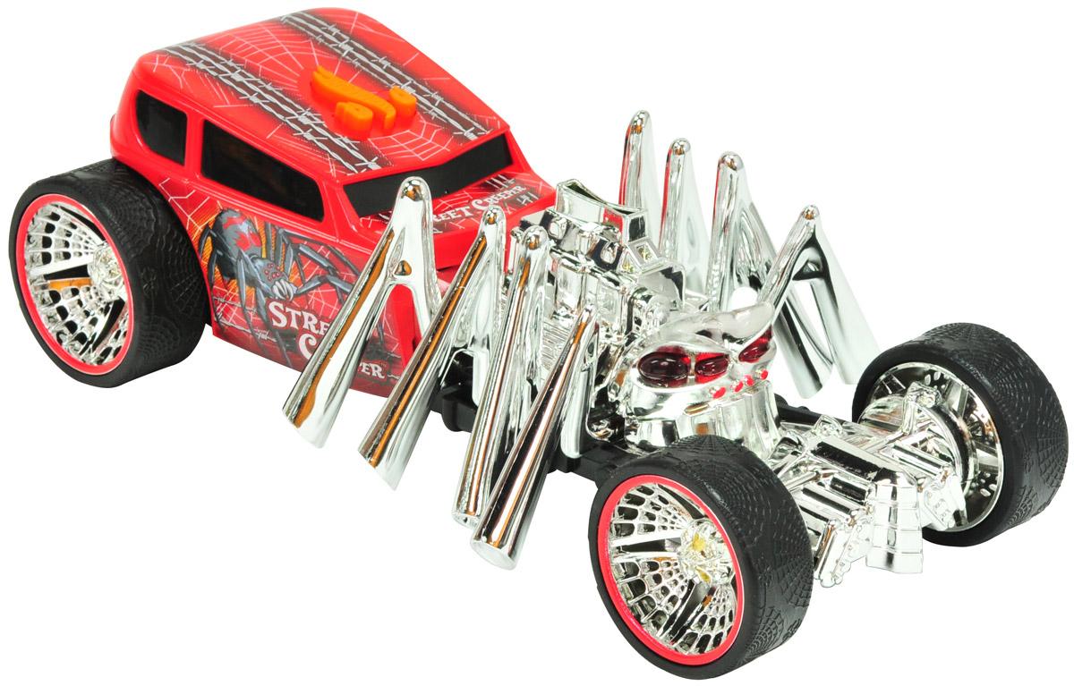 Hot Wheels Машинка Street CreeperHW90511Машинка Hot Wheels Street Creeper - желанный подарок для каждого мальчишки. Она выглядит просто потрясающе: красный кузов с рисунками, хромированные диски в виде паутины, а также огромный паук на капоте, у которого при движении светятся глаза и двигаются лапы. Агрессивный дизайн! Машинка является электромеханической - работает от батареек, запускается в движение при помощи кнопки, находящейся на крыше. Игрушка оснащена звуковыми и световыми эффектами. Рекомендуется докупить 3 батарейки напряжением 1,5V типа ААА/LR03 (товар комплектуется демонстрационными).