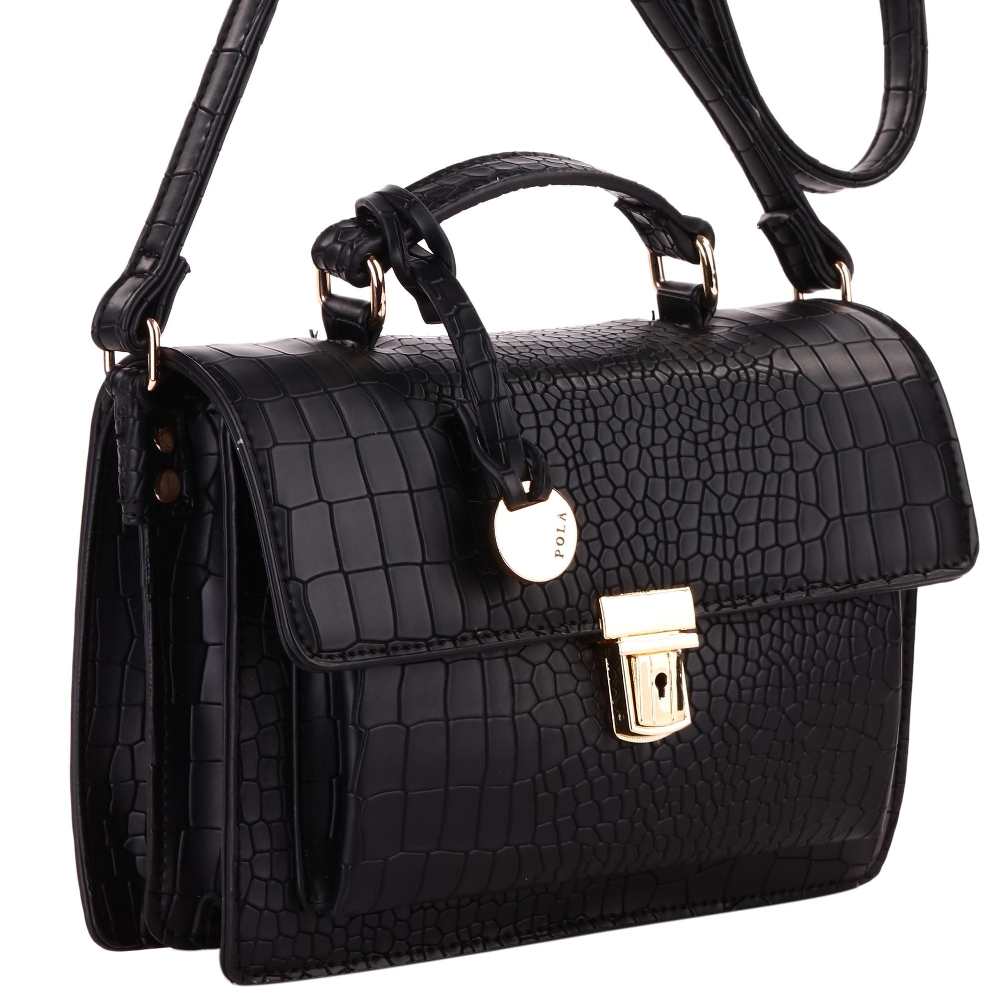 Сумка женская Pola, цвет: черный. 43954395Женская сумка на плечо фирмы Pola выполнена из экокожи. Закрывается клапаном на металлическом замке. Имеет два независимых отделения, внутри небольшой карман на молнии и один открытый карман. Под клапаном вместительный открытый карман. Плечевой ремень несъемный, регулируемый по длине, максимальная высота 55 см. Высота ручки 5 см. Цвет фурнитуры- золото.