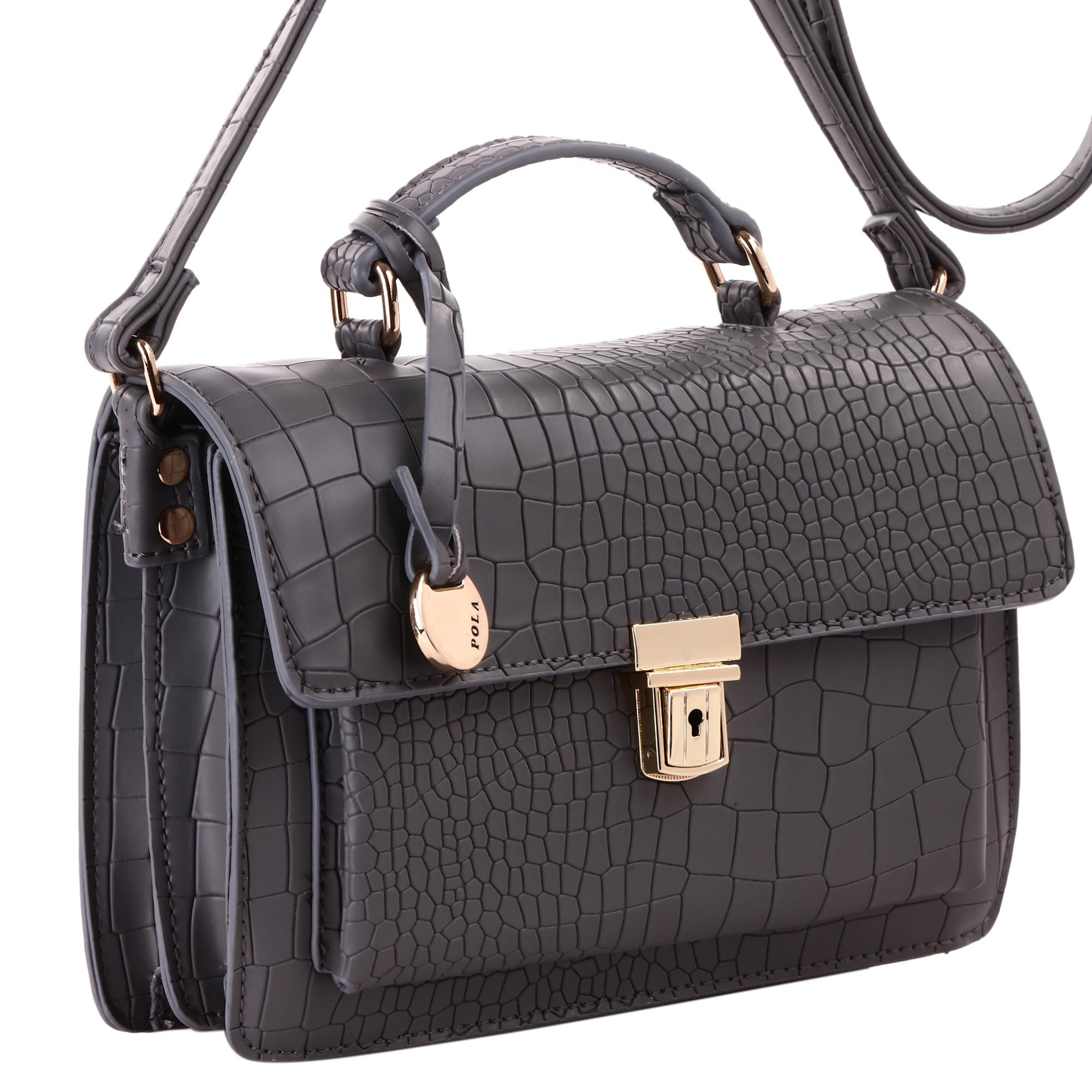 Сумка женская Pola, цвет: серый. 43954395Женская сумка на плечо фирмы Pola выполнена из экокожи. Закрывается клапаном на металлическом замке. Имеет два независимых отделения, внутри небольшой карман на молнии и один открытый карман. Под клапаном вместительный открытый карман. Плечевой ремень несъемный, регулируемый по длине, максимальная высота 55 см. Высота ручки 5 см. Цвет фурнитуры- золото.