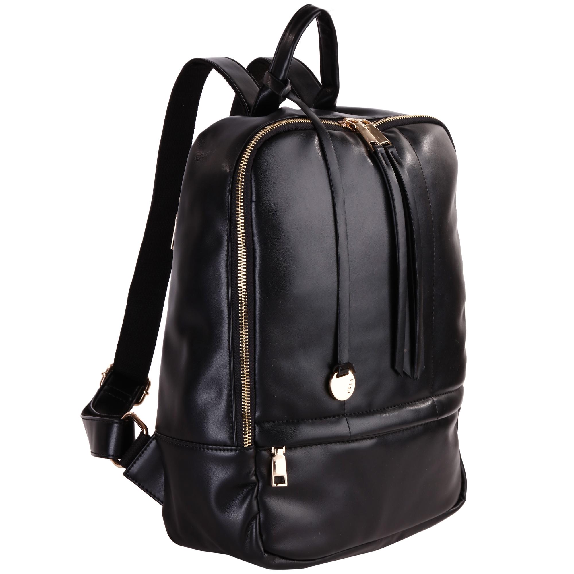 Рюкзак женский Pola, цвет: черный. 44124412Стильный женский рюкзак Pola - очень практичен в повседневном использовании. Основное отделение закрывается на металлическую молнию. Внутри - два кармана на молнии и два открытых кармашка. Снаружи – карман на молнии сзади и спереди рюкзака. Лямки регулируются по длине. Эта универсальная модель идеально подойдет как для путешествий, так и для учебы или работы, а так же позволит Вам взять с собой все самое необходимое.