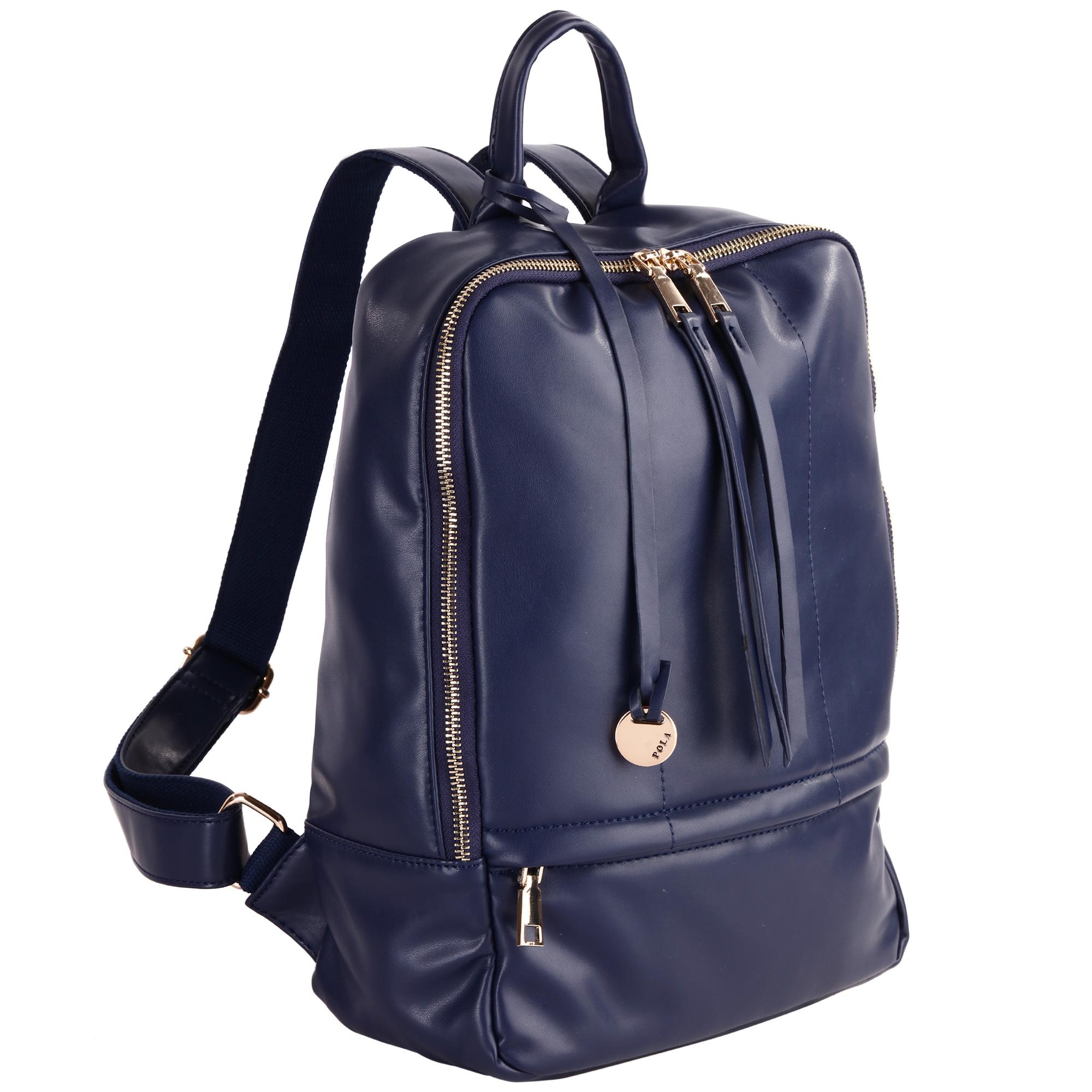 Рюкзак женский Pola, цвет: синий. 44124412Стильный женский рюкзак Pola - очень практичен в повседневном использовании. Основное отделение закрывается на металлическую молнию. Внутри - два кармана на молниях и два открытых кармашка. Снаружи – карманы на молниях сзади и спереди рюкзака. Лямки регулируются по длине. Эта универсальная модель идеально подойдет как для путешествий, так и для учебы или работы, а так же позволит вам взять с собой все самое необходимое.