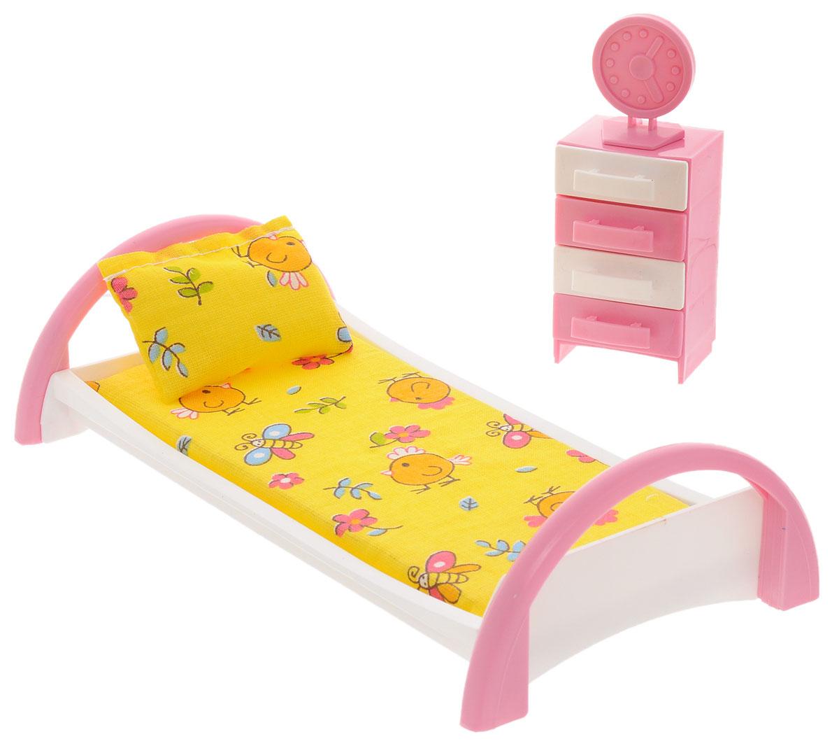 Форма Набор мебели для кукол Кровать с тумбочкой цвет желтыйС-50-Ф_желтыйМебель для кукол Форма Кровать с тумбочкой изготовлена для кукол не выше 20 см. Эти предметы мебели создают настоящий уют в кукольной спальне. Игровой набор мебели для куклы Кровать с тумбочкой включает в себя кроватку для куклы с постельным бельем. В наборе имеется тумбочка. У тумбочки выдвигаются ящички, на кровати предусмотрена подушка и матрац. В набор входят часы, которые можно установить на тумбочку. Весь набор изготовлен из прочного и безопасного материала. Порадуйте свою малышку таким замечательным подарком!